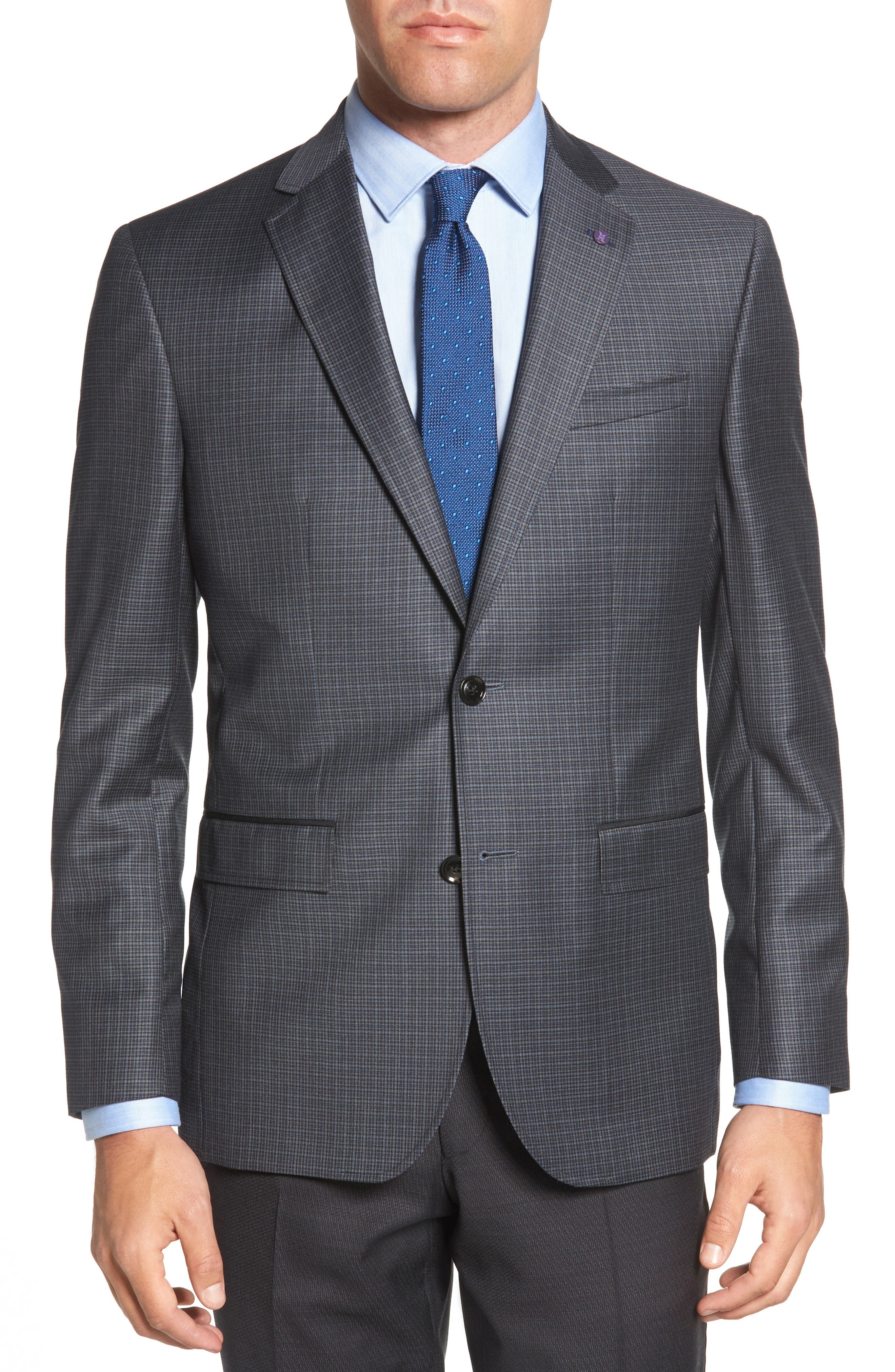 Jed Trim Fit Microcheck Wool Sport Coat,                             Main thumbnail 1, color,                             020
