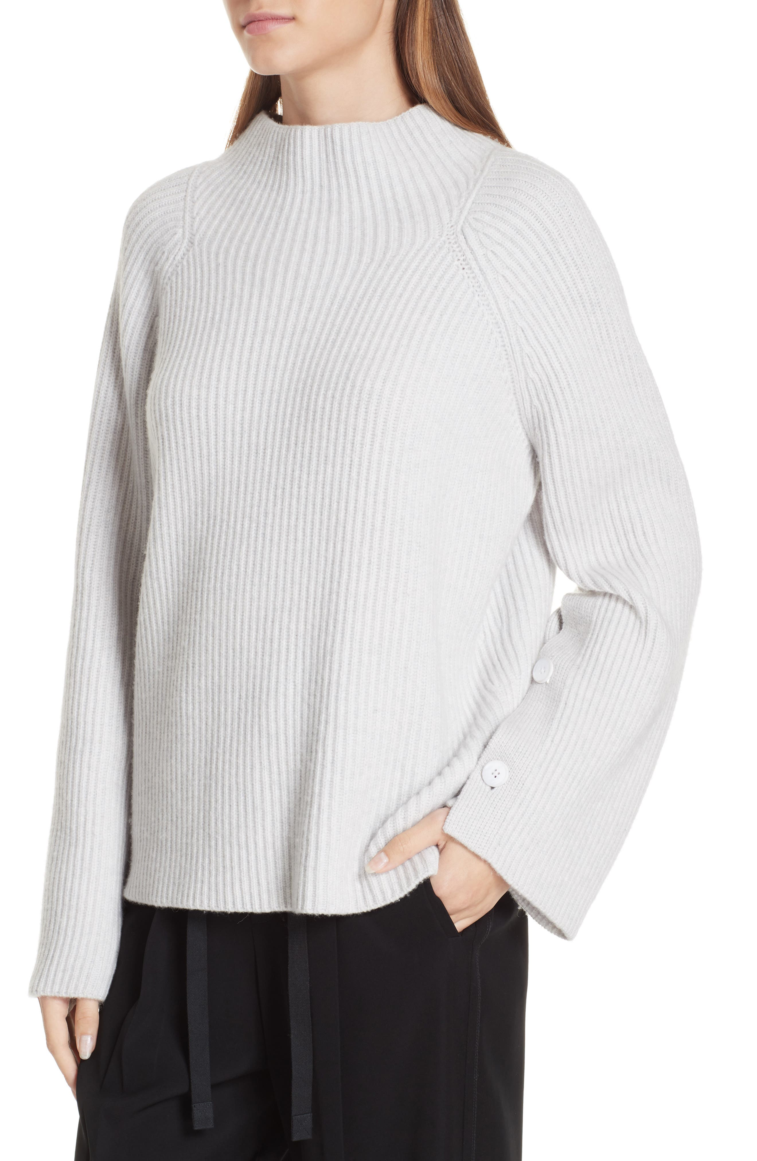 Button Cuff Funnel Neck Sweater,                             Alternate thumbnail 4, color,                             LIGHT HEATHER GREY