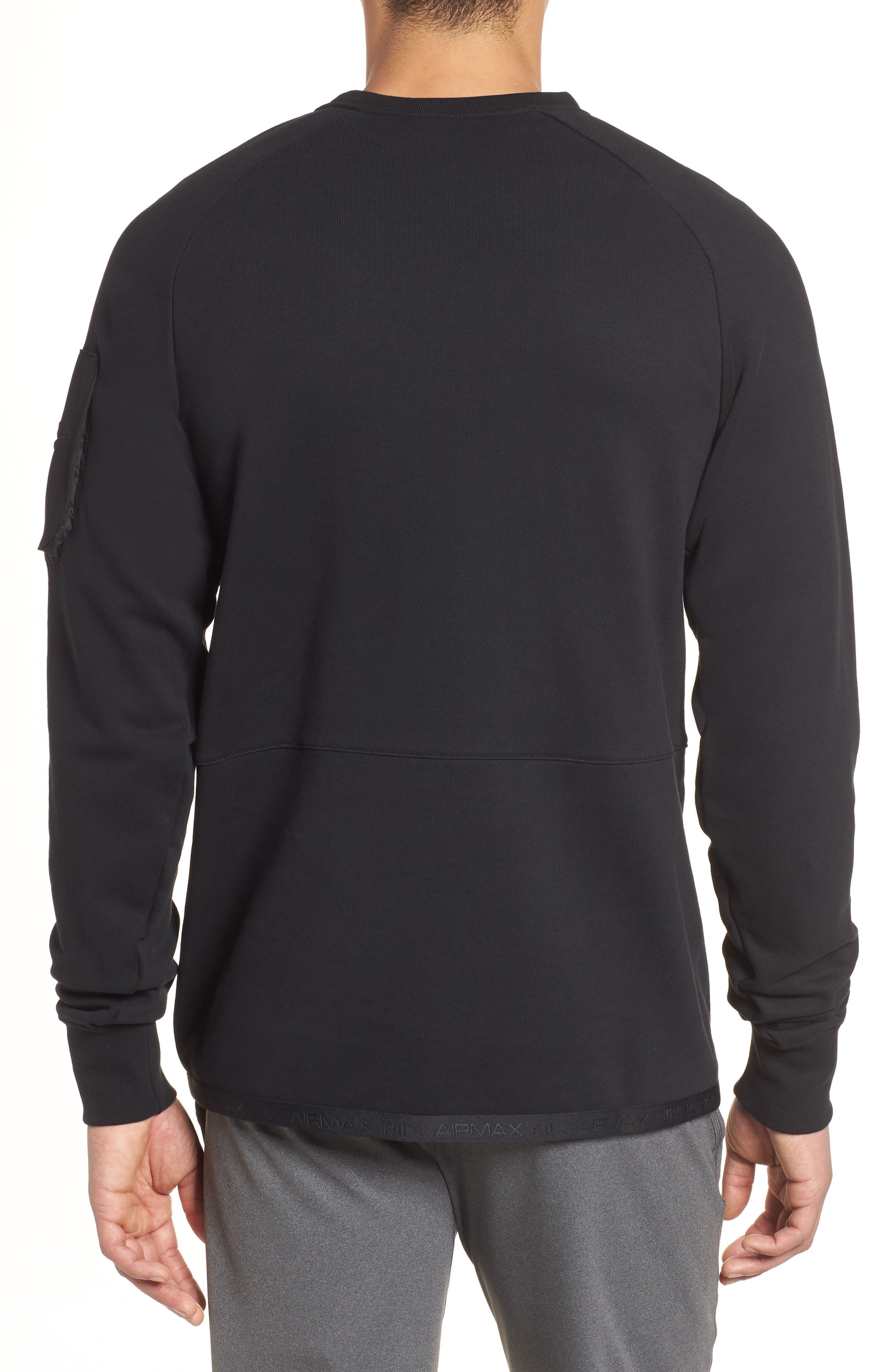 NSW Air Max Crewneck Sweatshirt,                             Alternate thumbnail 2, color,                             BLACK/ BLACK/ BLACK