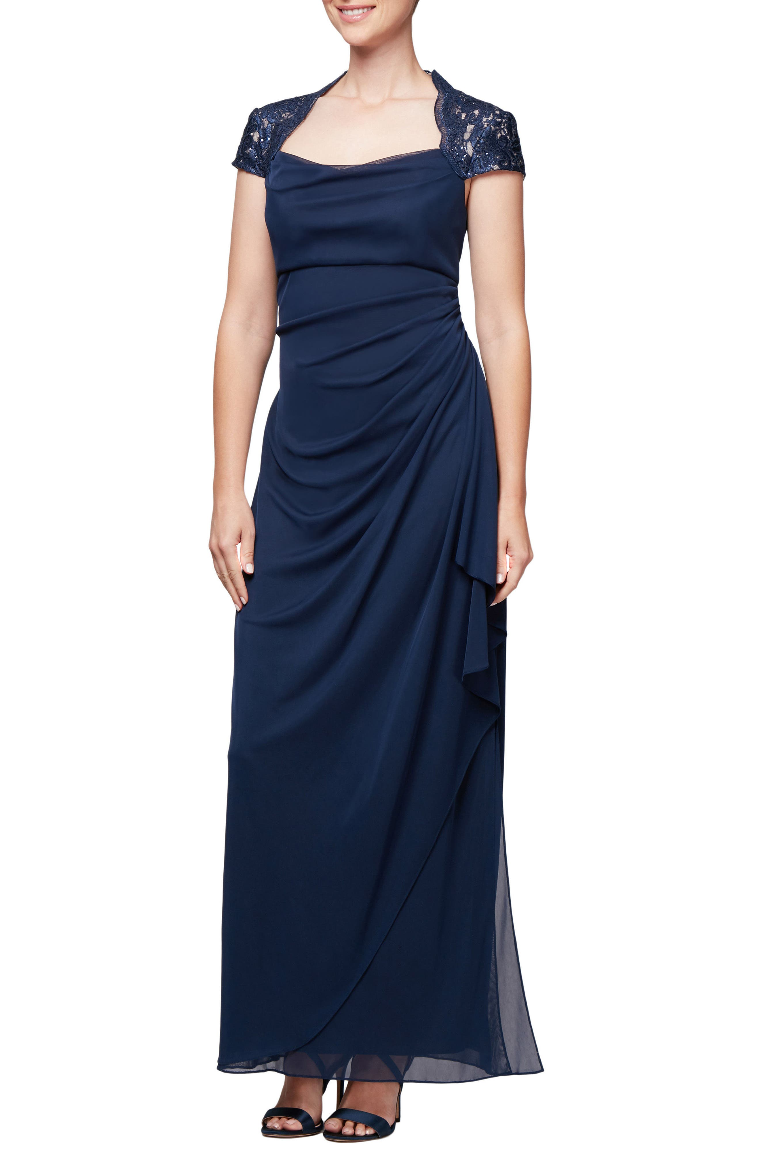 Lace Yoke Ruched Gown,                             Main thumbnail 1, color,                             NAVY/ NUDE
