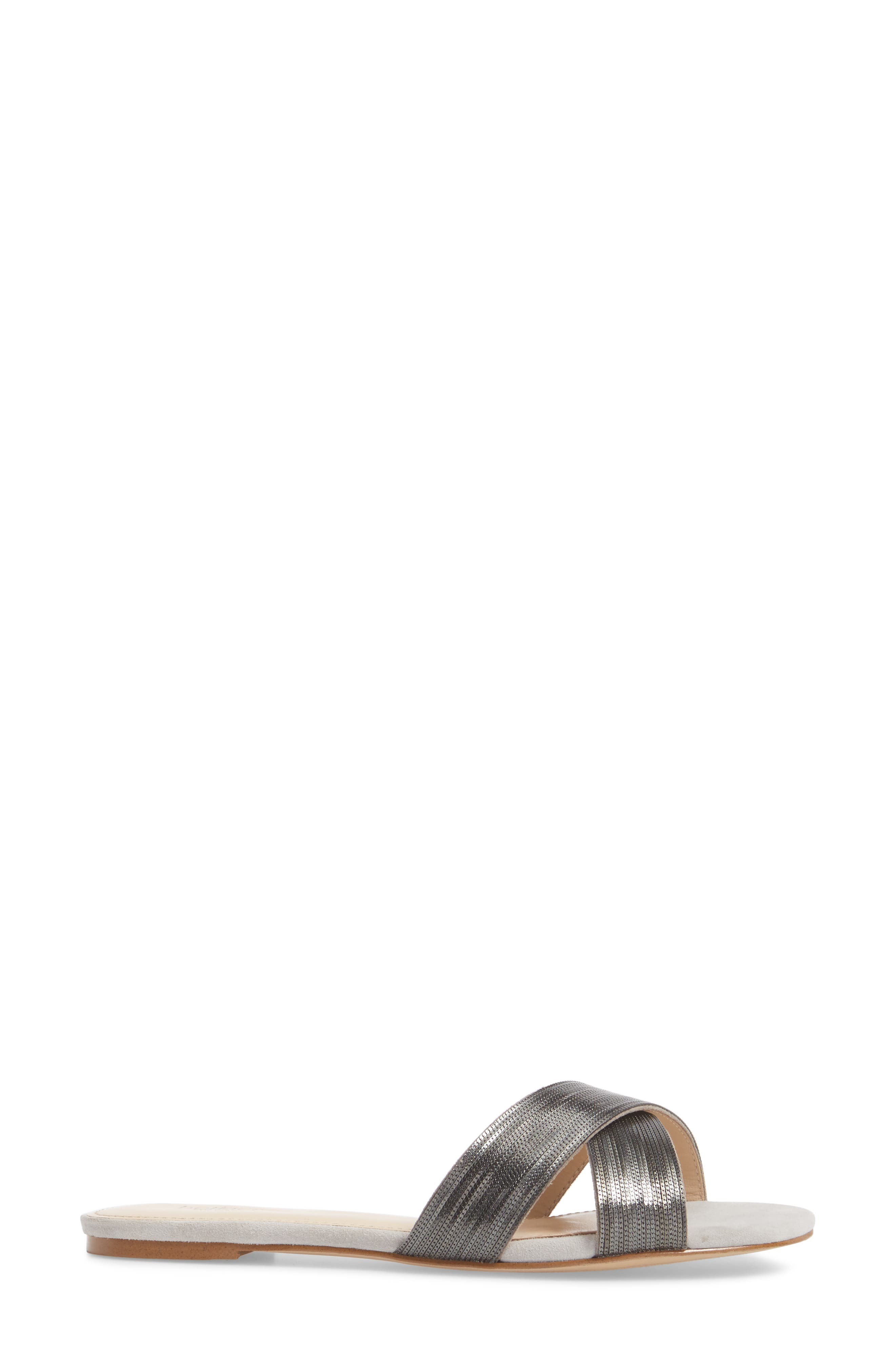 Millie Cross Strap Slide Sandal,                             Alternate thumbnail 3, color,                             CLAY/ GUNMETAL SUEDE