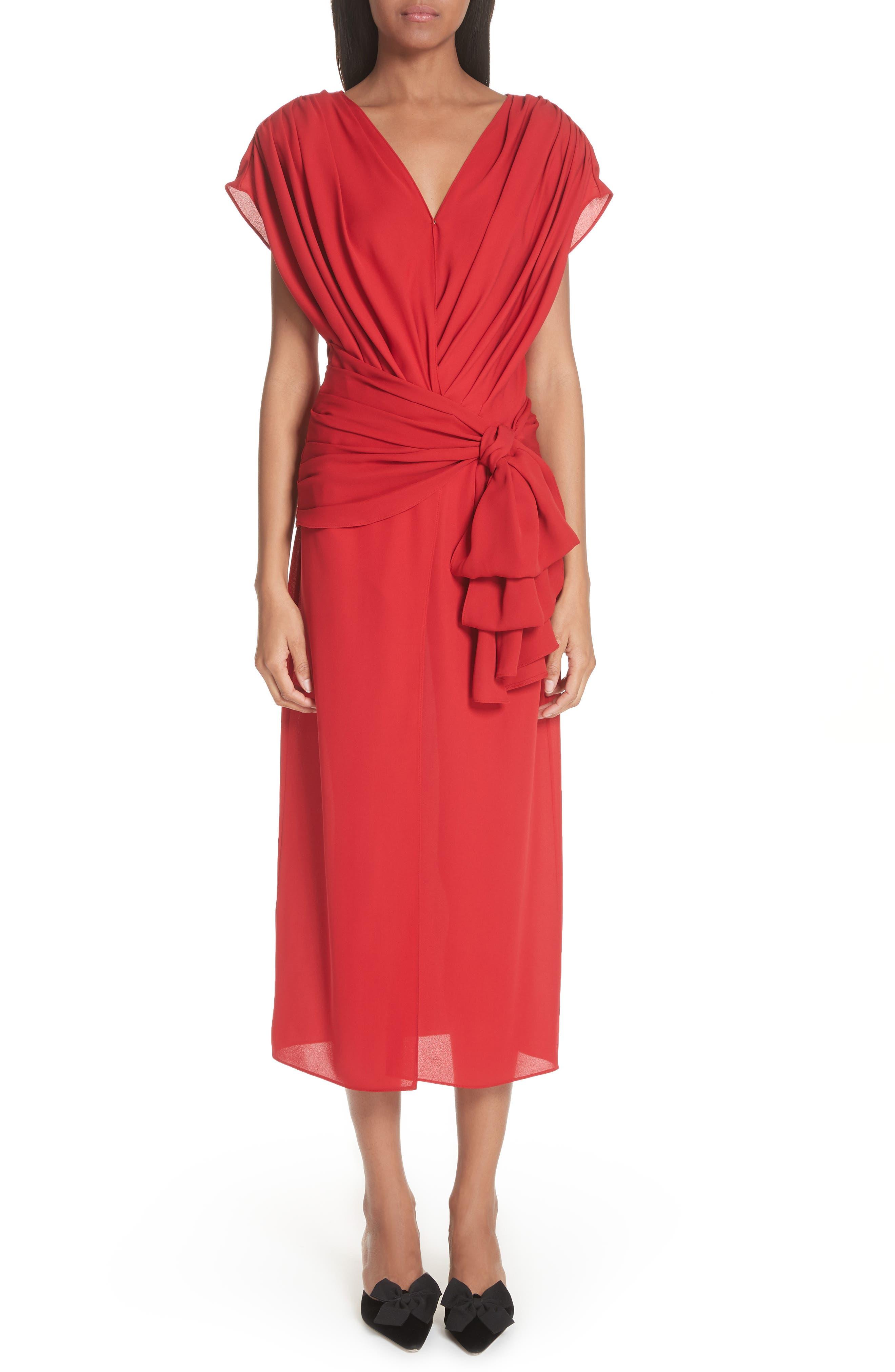 Tie Waist Silk Dress,                             Main thumbnail 1, color,