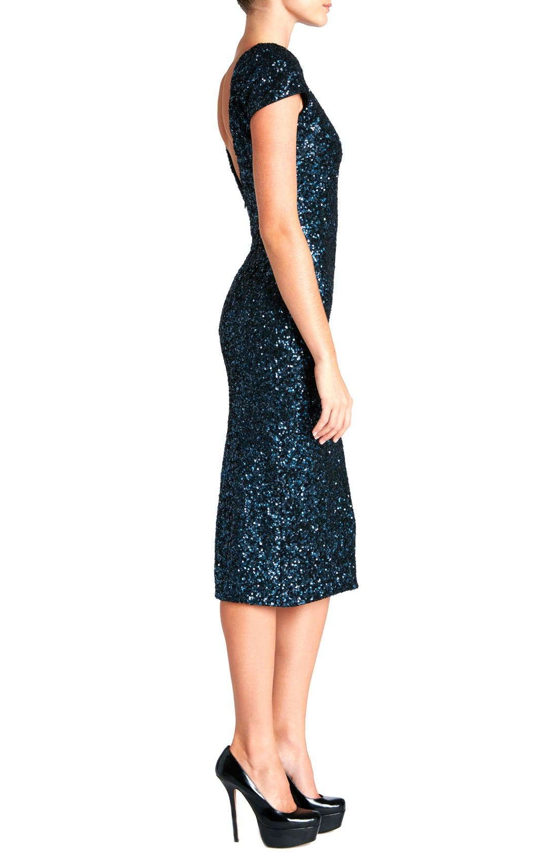 'Marcella' Open Back Sequin Body-Con Dress,                             Alternate thumbnail 11, color,