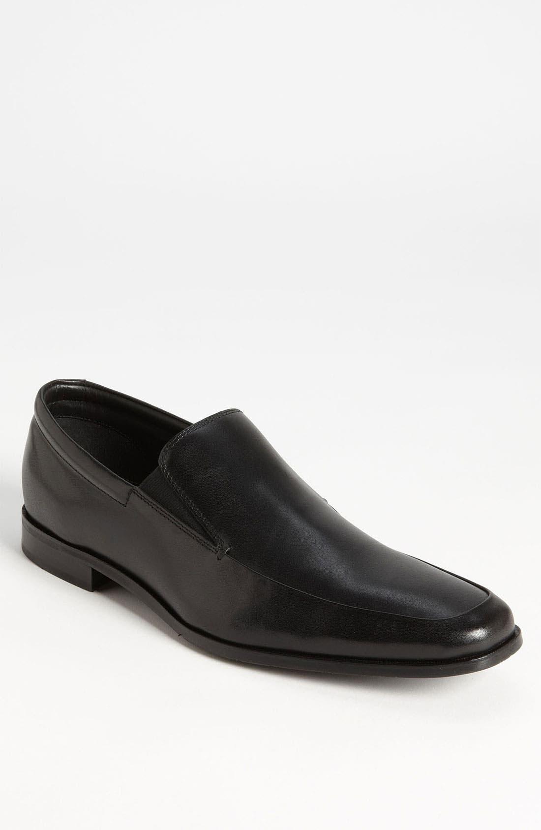GORDON RUSH Men'S Elliot Leather Apron Toe Loafers in Black Leather