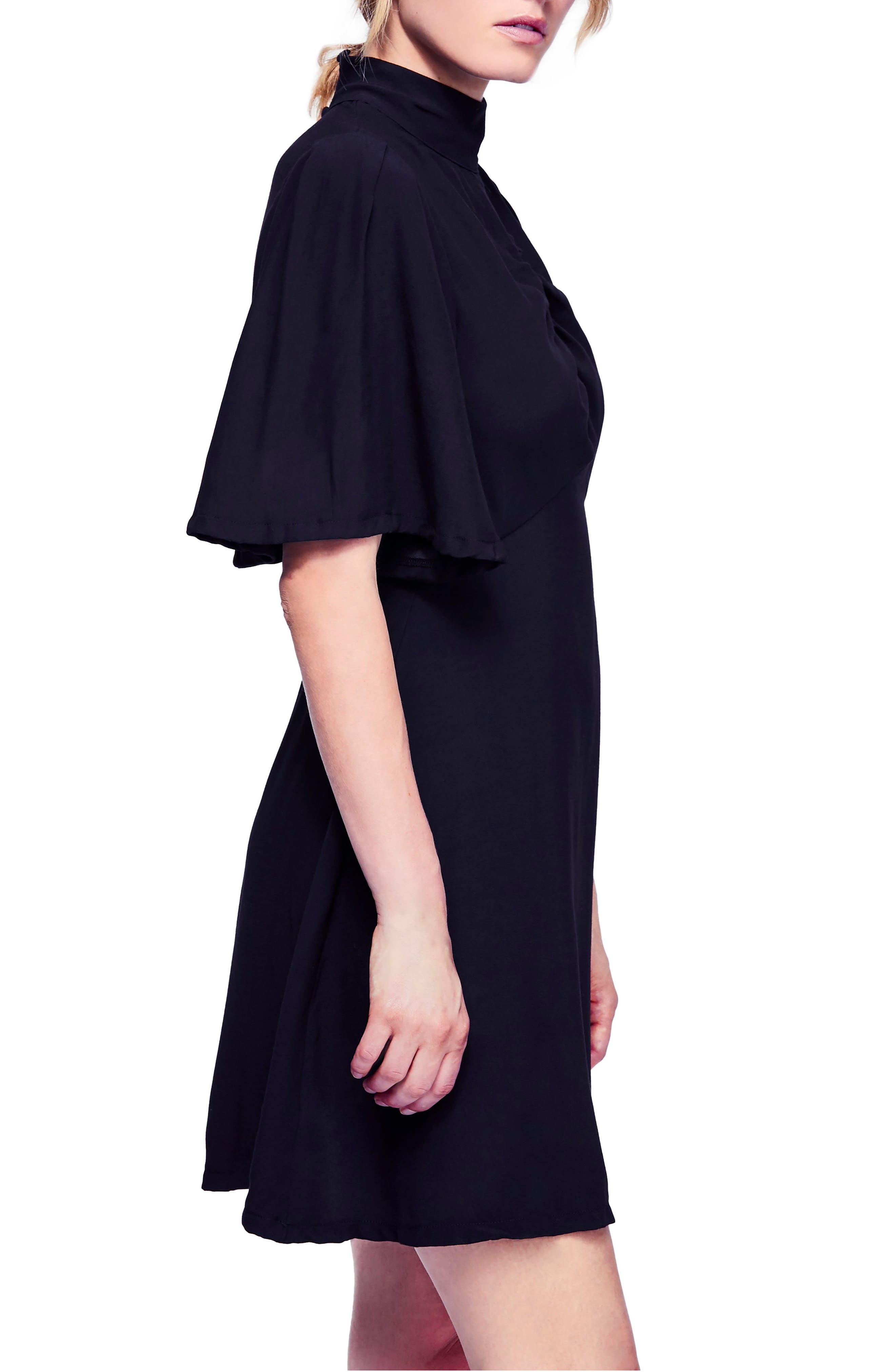 Be My Baby Ruched Front Elbow Sleeve Dress,                             Alternate thumbnail 3, color,                             BLACK