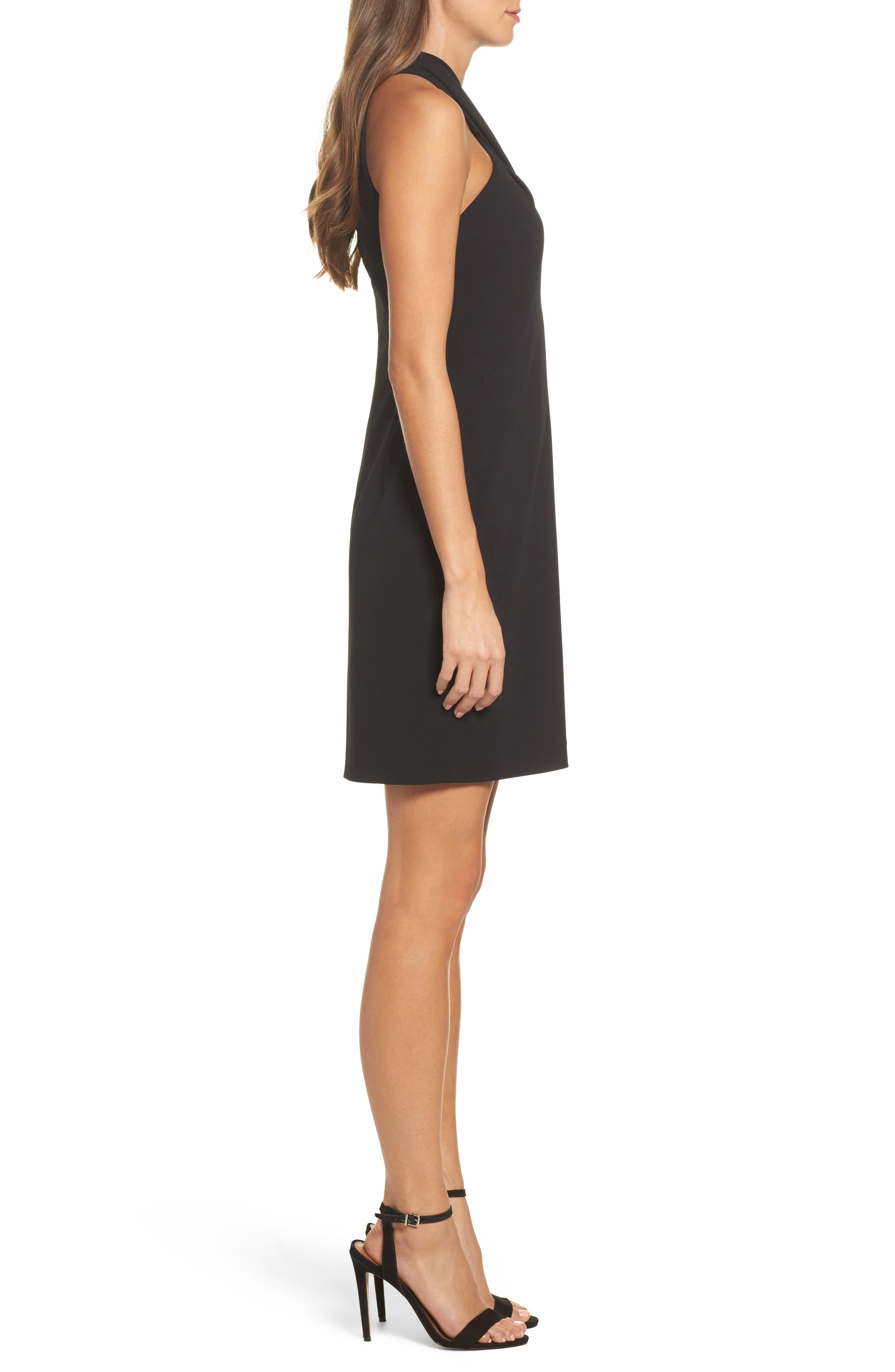 Halter Sheath Dress,                             Alternate thumbnail 3, color,                             BLACK