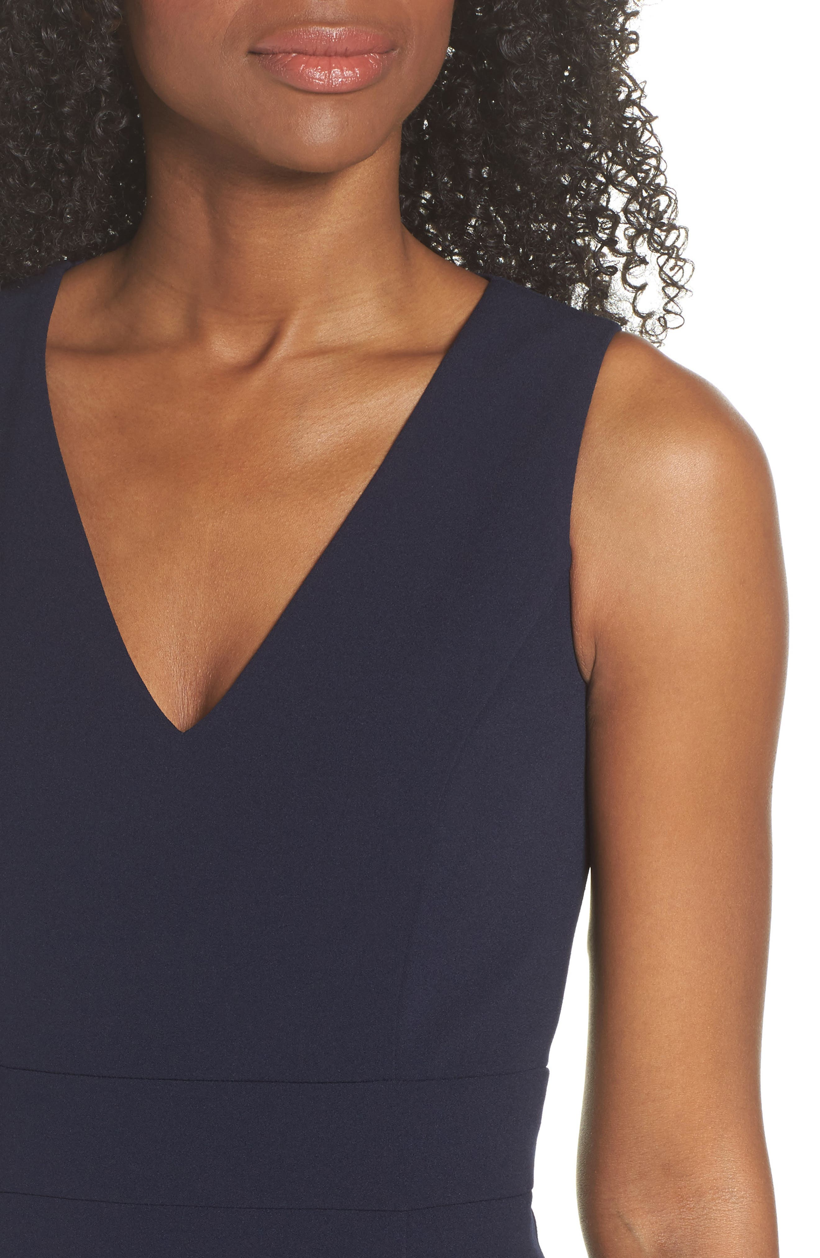 Ruffle Hem Body-Con Dress,                             Alternate thumbnail 4, color,                             NAVY