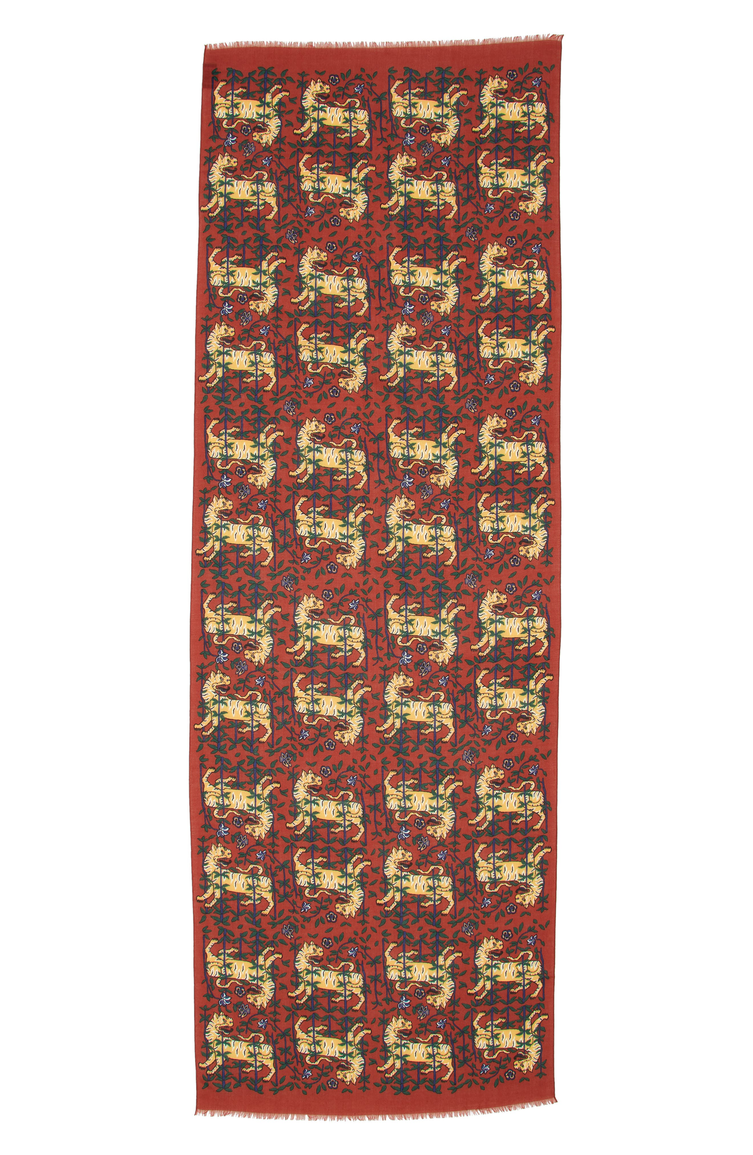 Drakes Tiger Print Wool Scarf,                             Alternate thumbnail 2, color,                             BURGUNDY