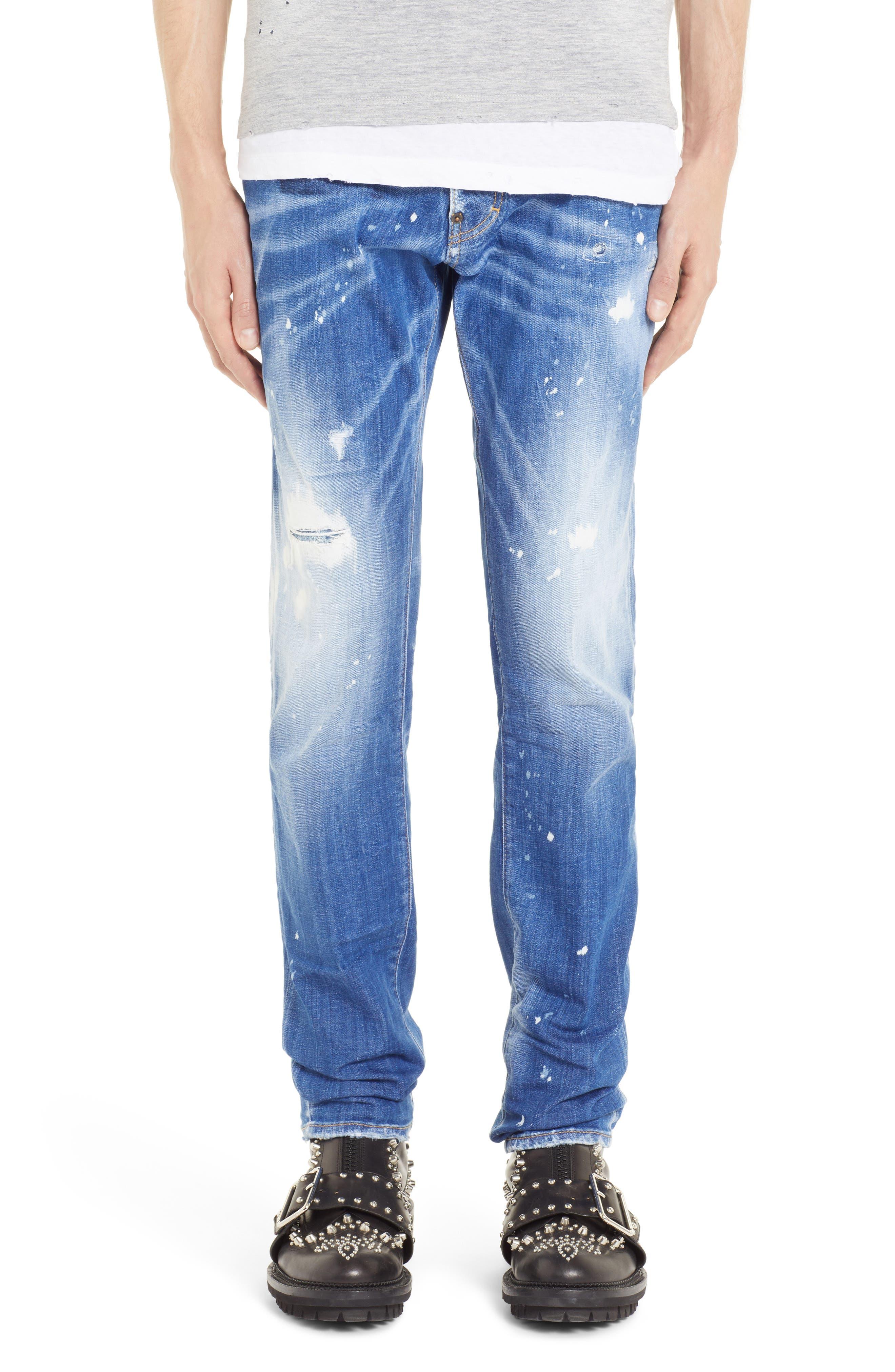 Paint Sexy Twist Slim Fit Jeans,                             Main thumbnail 1, color,                             400