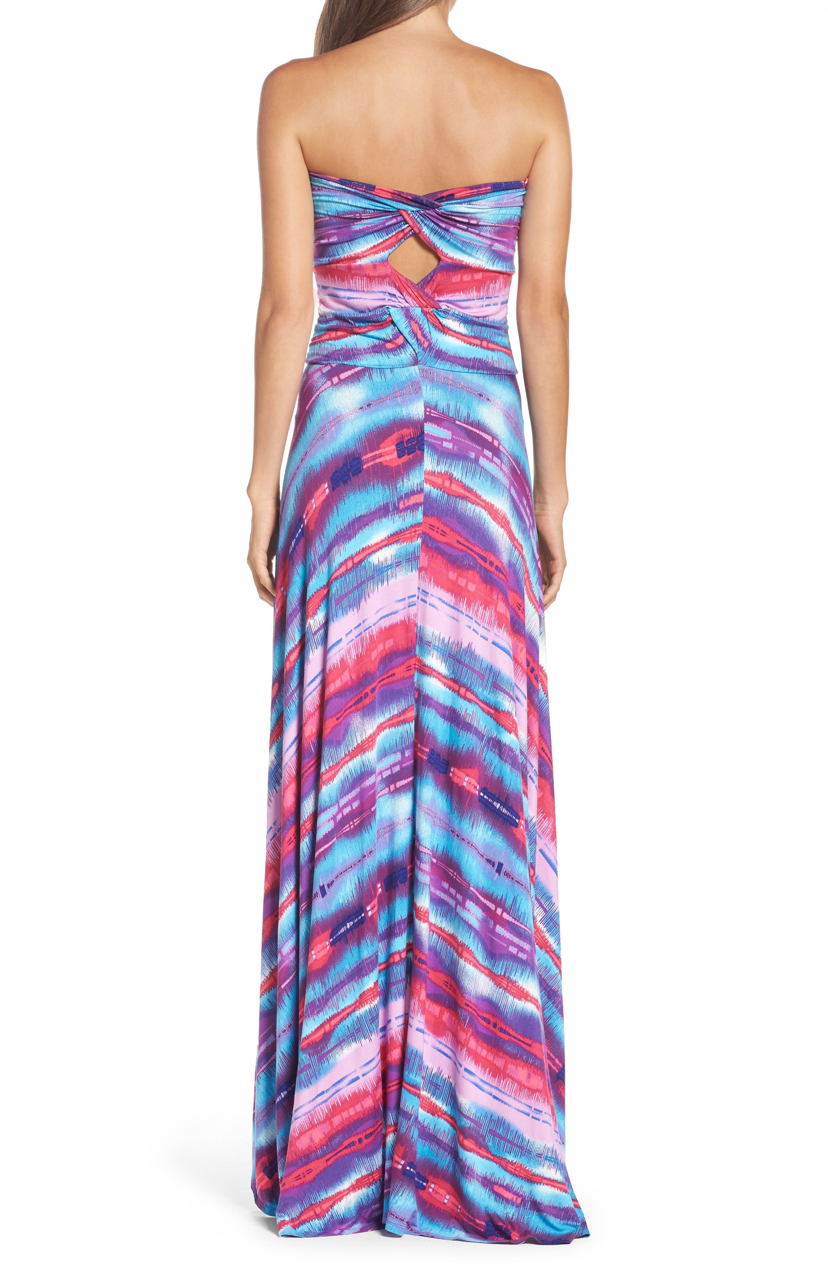 Strapless Neon Print Maxi Dress,                             Alternate thumbnail 2, color,                             429