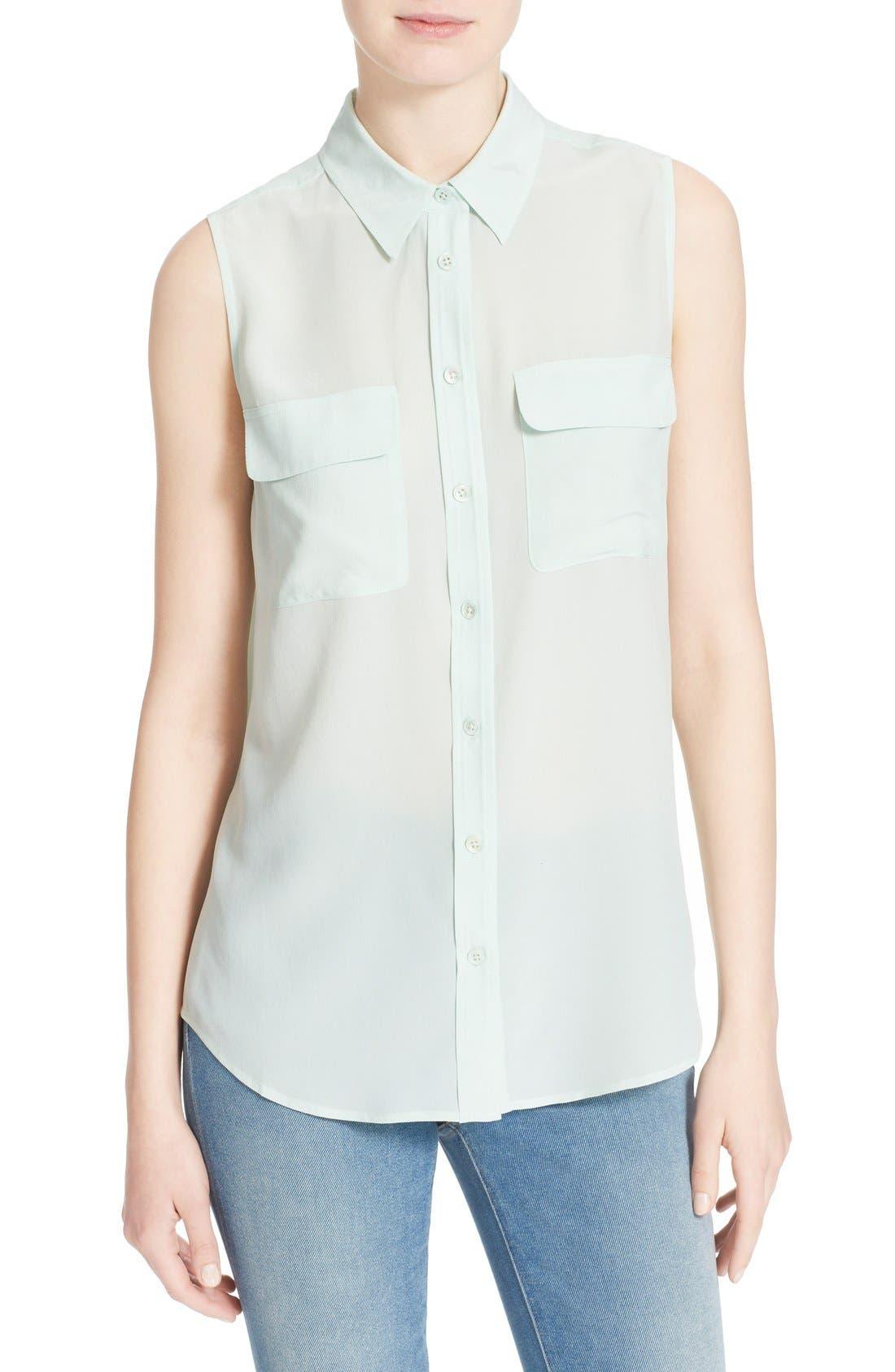 'Slim Signature' Sleeveless Silk Shirt,                             Main thumbnail 8, color,