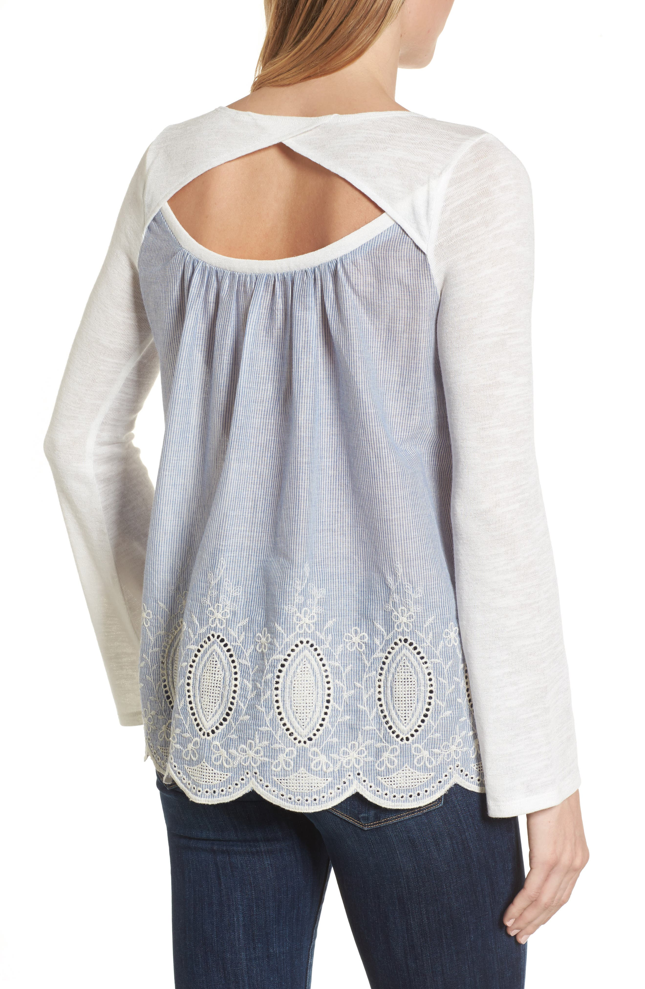 Embroidered Mixed Media Top,                             Alternate thumbnail 4, color,