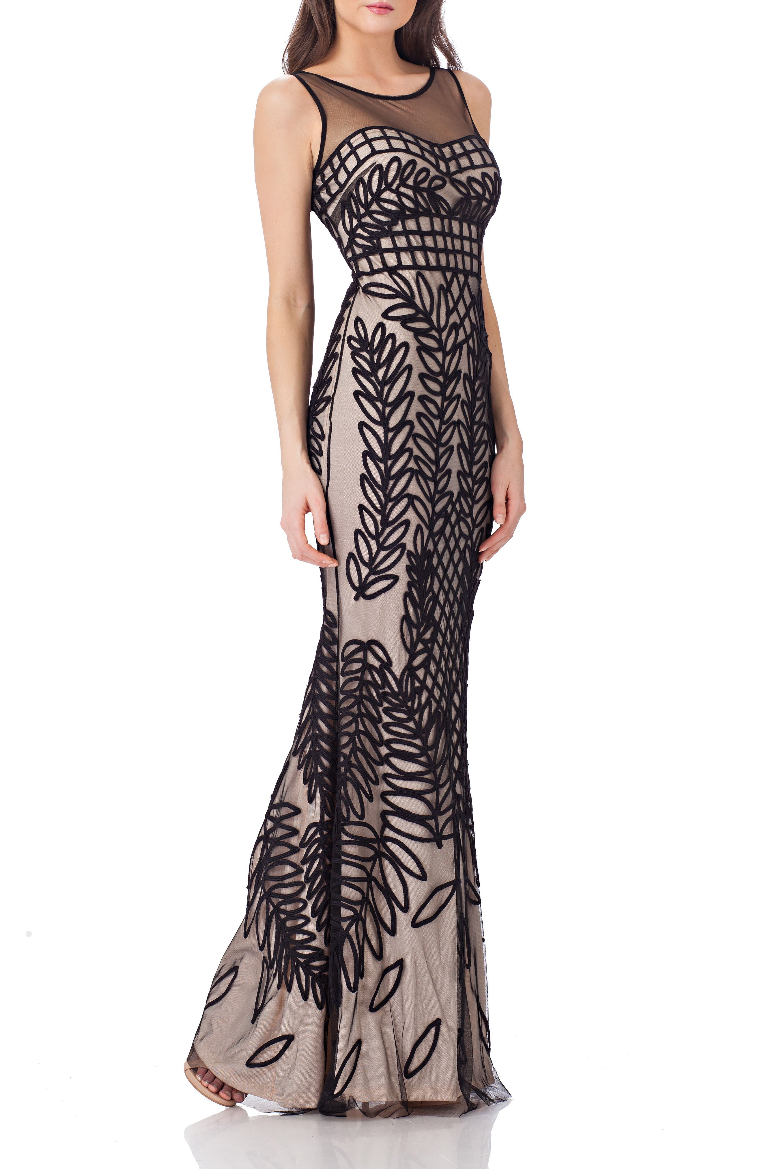 Mesh Mermaid Gown,                         Main,                         color, 001