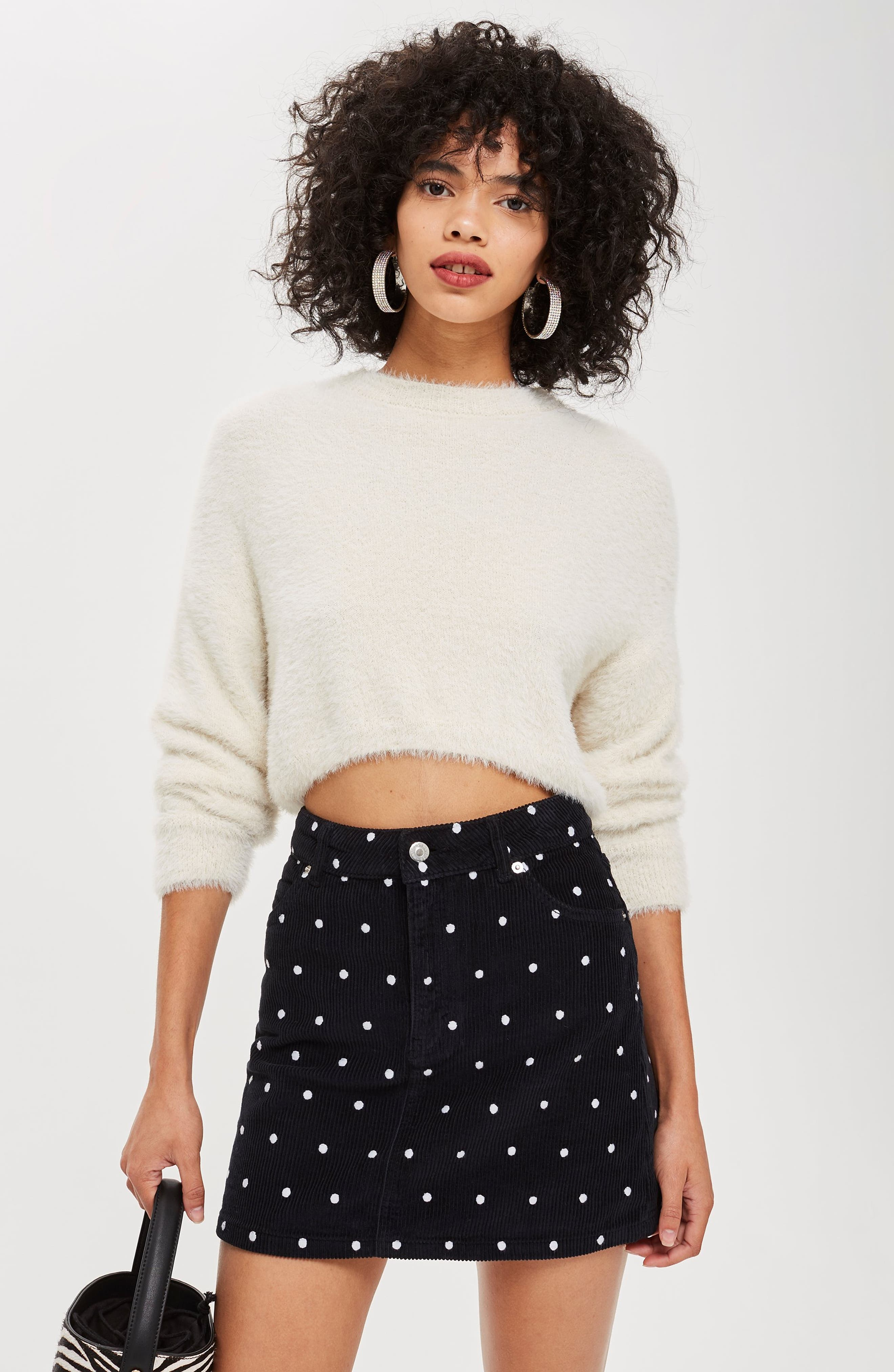 Spot Print Corduroy Skirt,                             Alternate thumbnail 4, color,                             BLACK MULTI