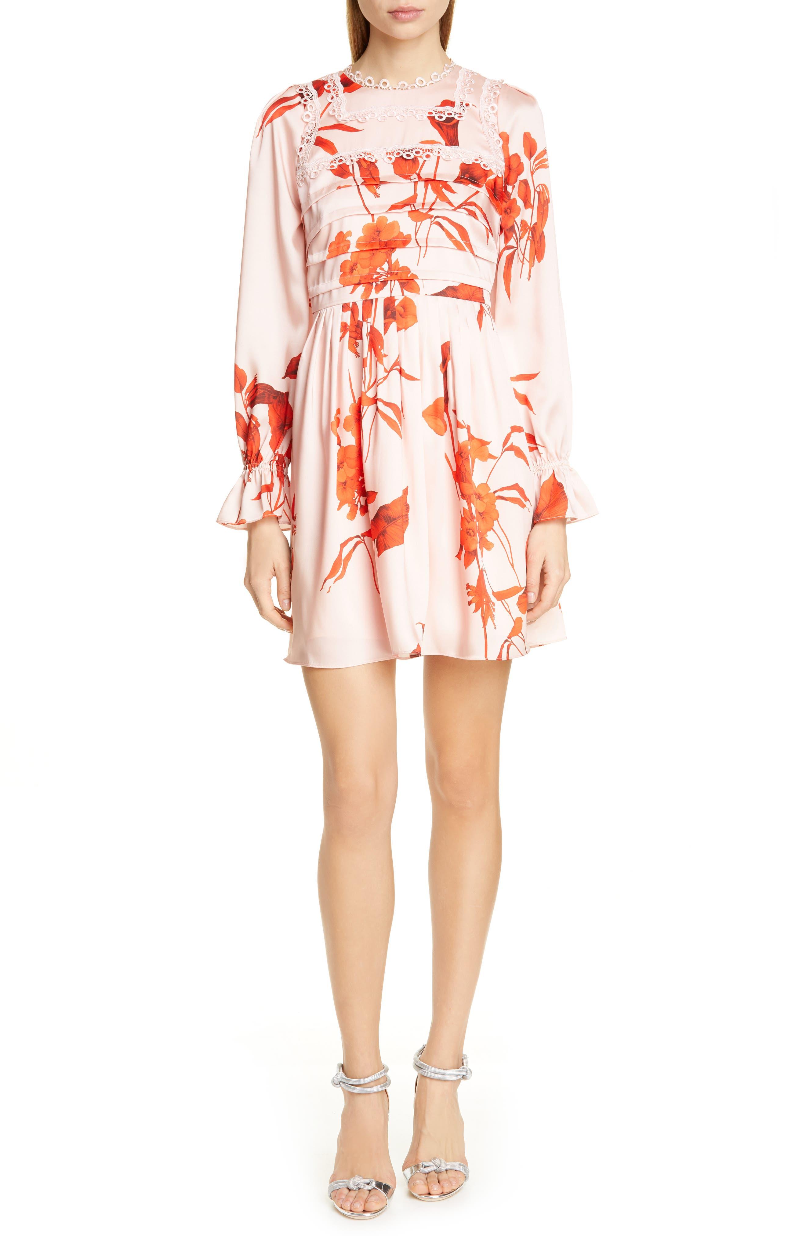 Ted Baker London Malaani Fantasia Long Sleeve Minidress, Pink