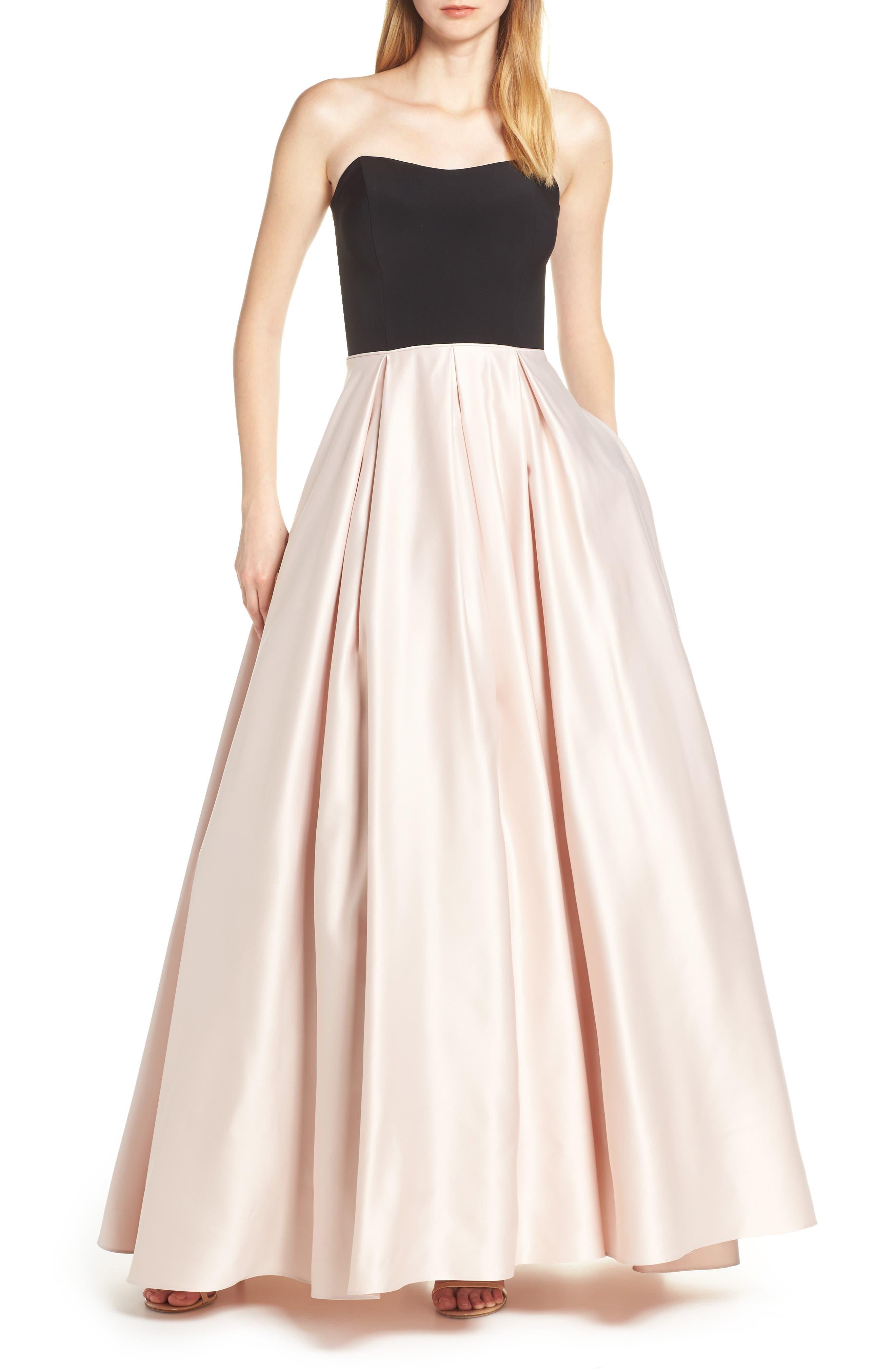 Blondie Nites Strapless Satin Skirt Evening Dress