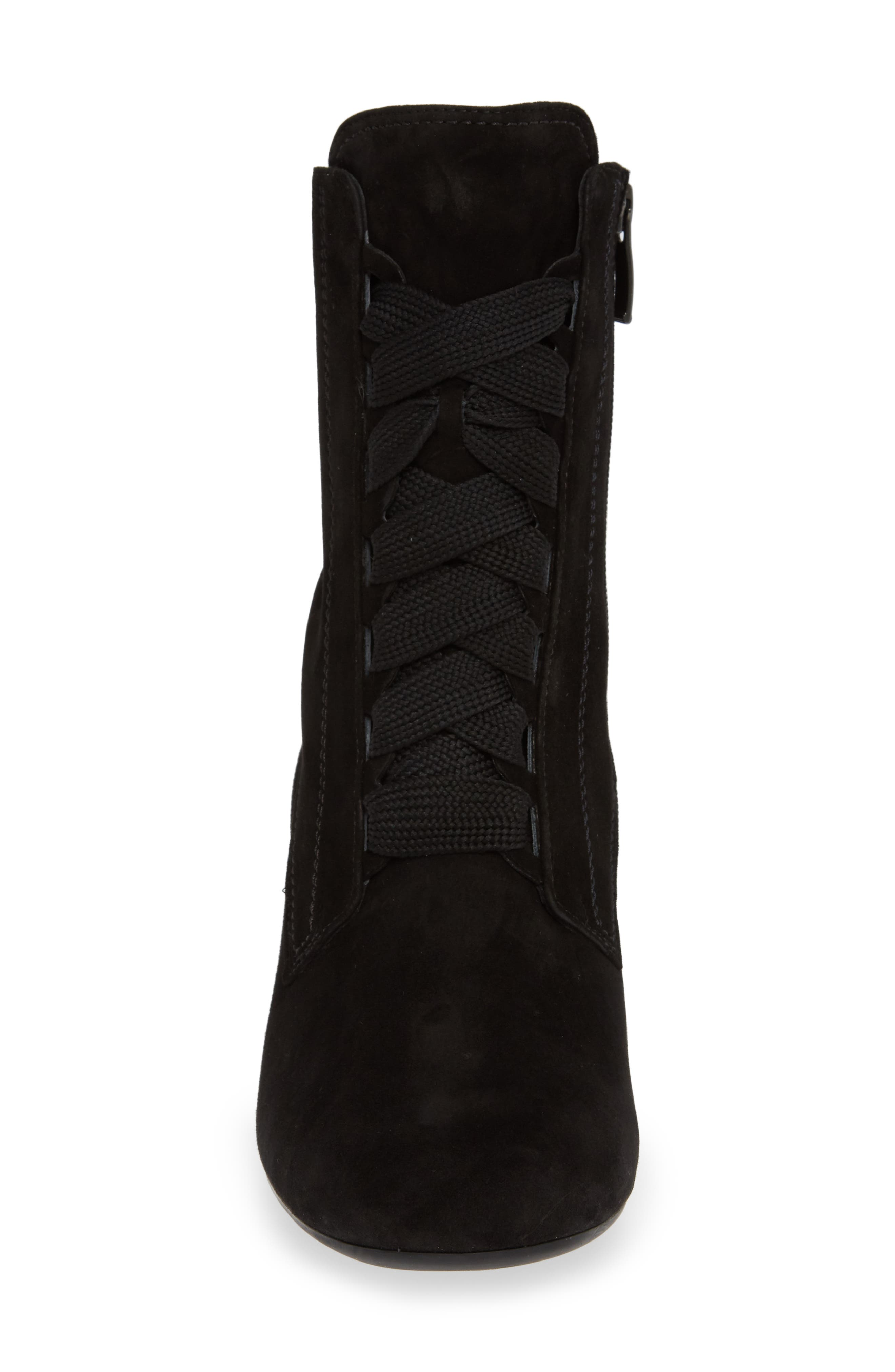 Tracy Lace-Up Bootie,                             Alternate thumbnail 4, color,                             BLACK SUEDE