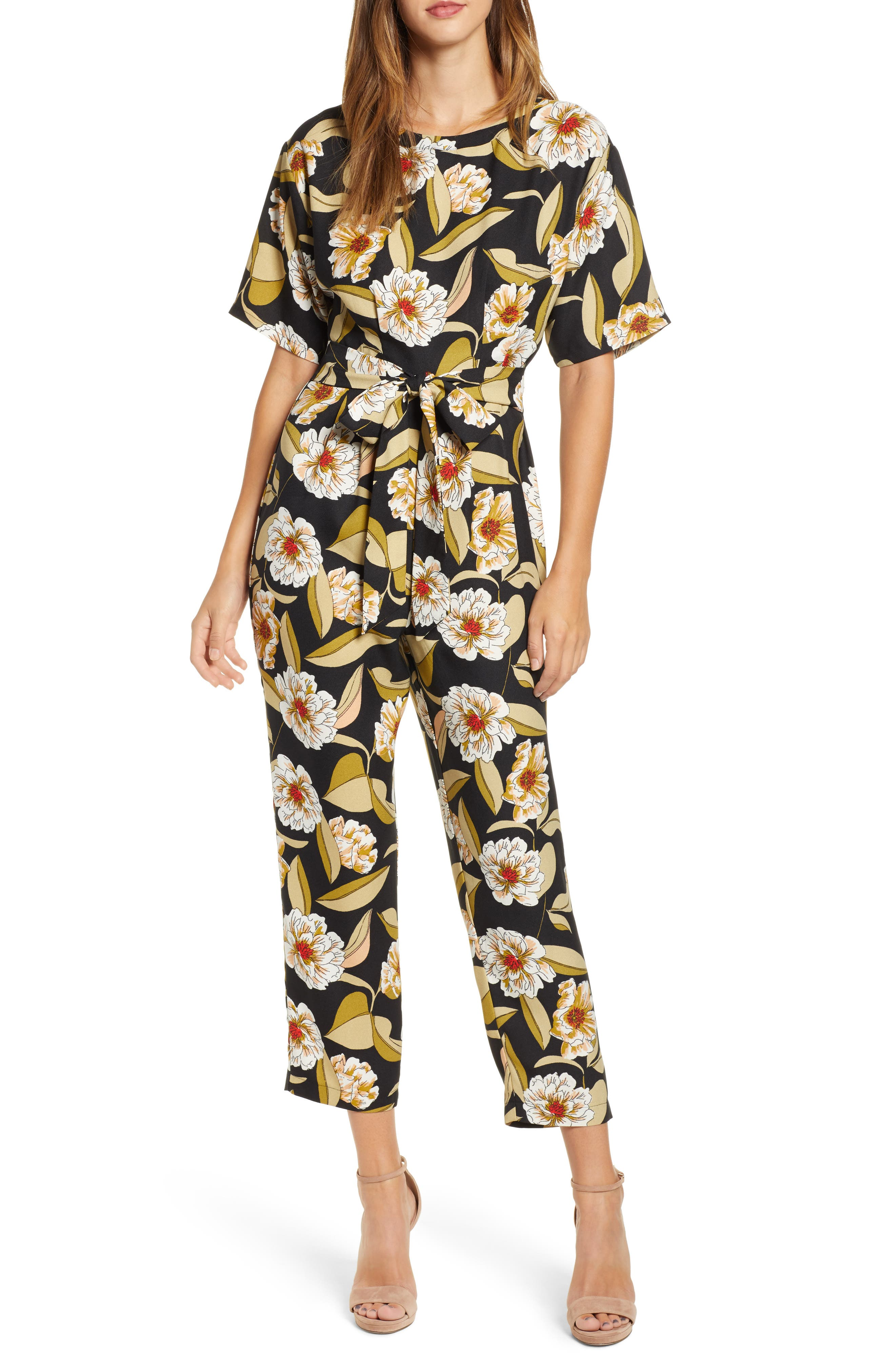 LEITH,                             Belted Floral Jumpsuit,                             Main thumbnail 1, color,                             001