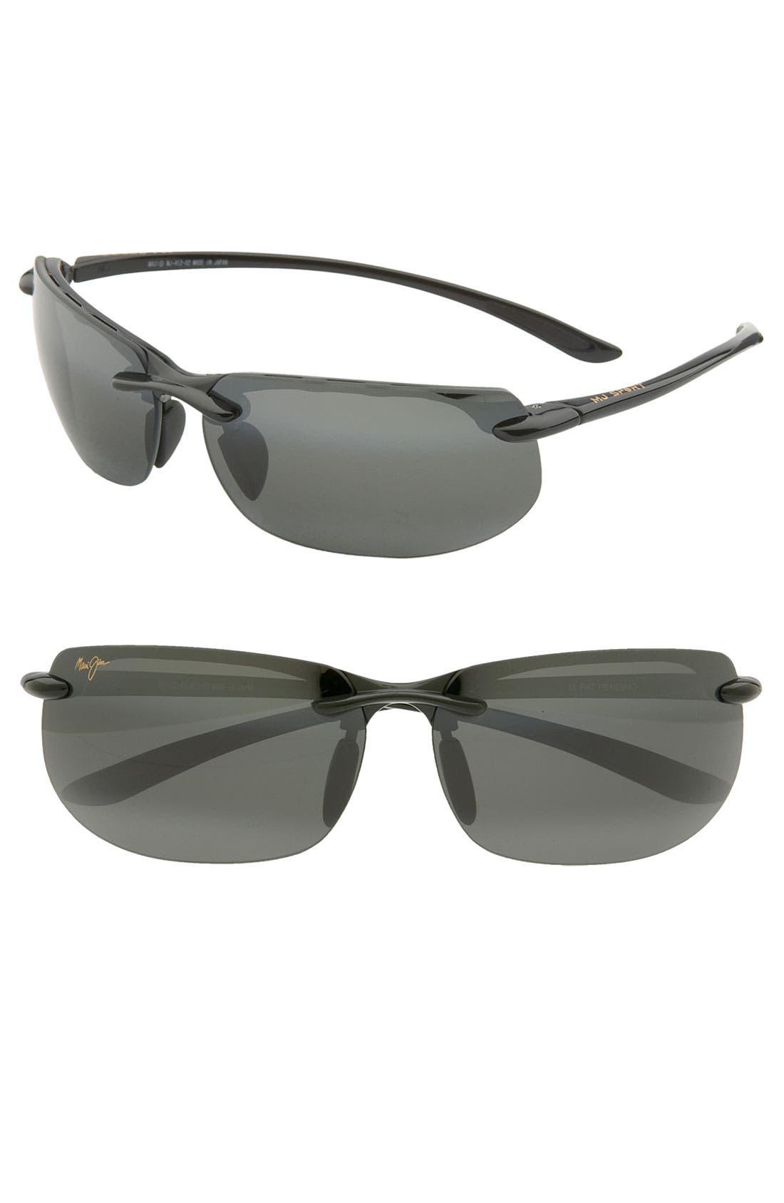 'Banyans - PolarizedPlus<sup>®</sup>2' 67mm Sunglasses,                             Main thumbnail 1, color,                             GLOSS BLACK / NEUTRAL GREY