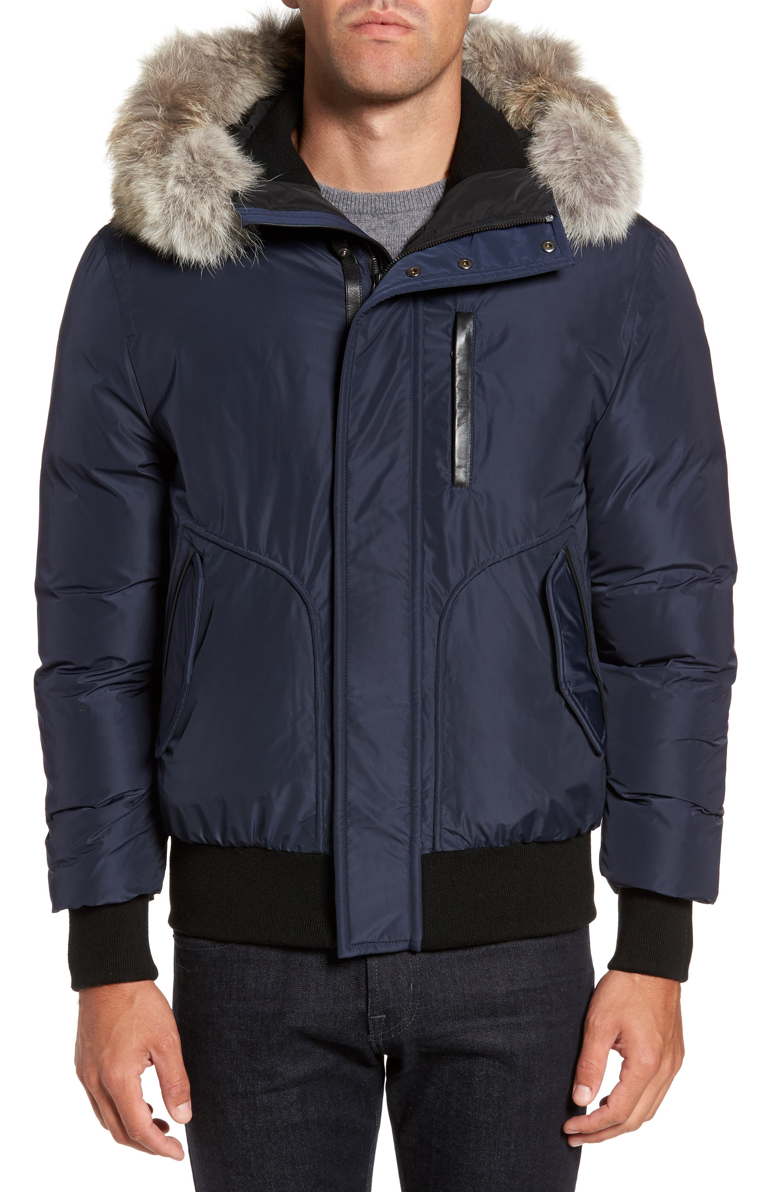 'Florian' Down Bomber Jacket with Genuine Coyote Fur Trim,                         Main,                         color, INK