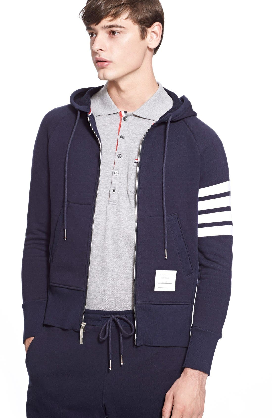 Stripe Zip Hoodie, Main, color, 461