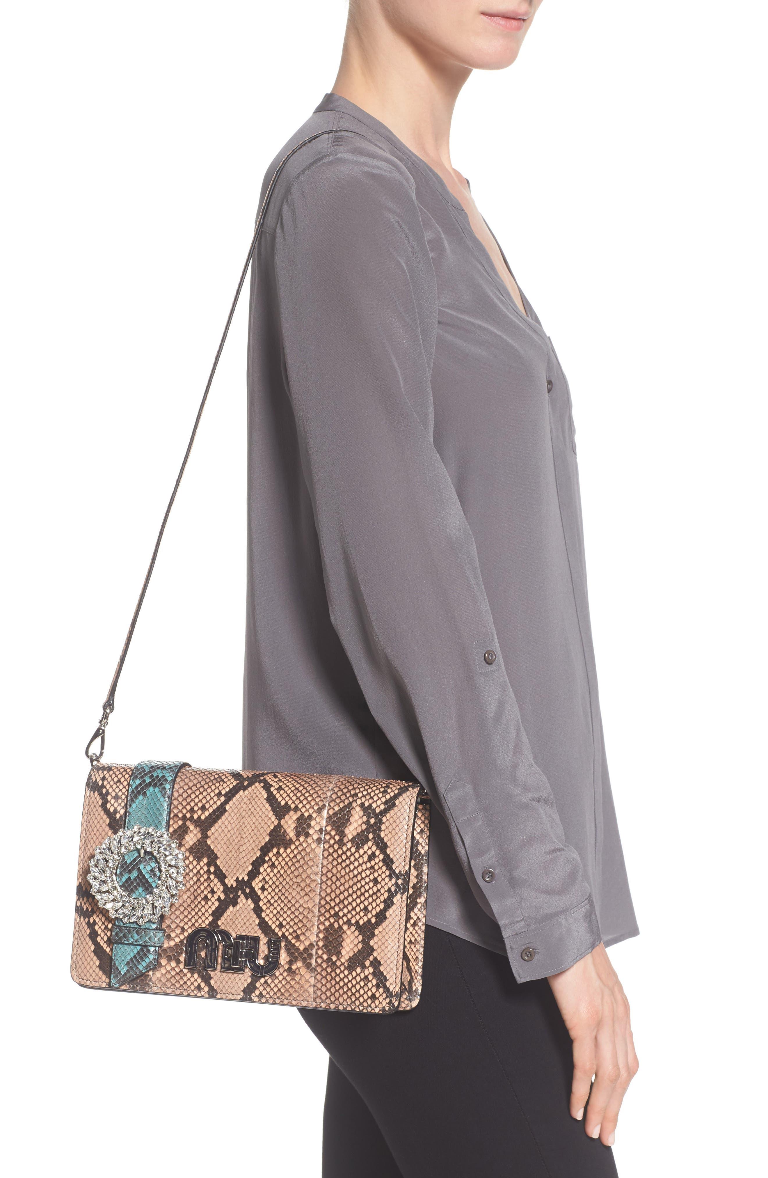 Genuine Python Shoulder Bag,                             Alternate thumbnail 4, color,