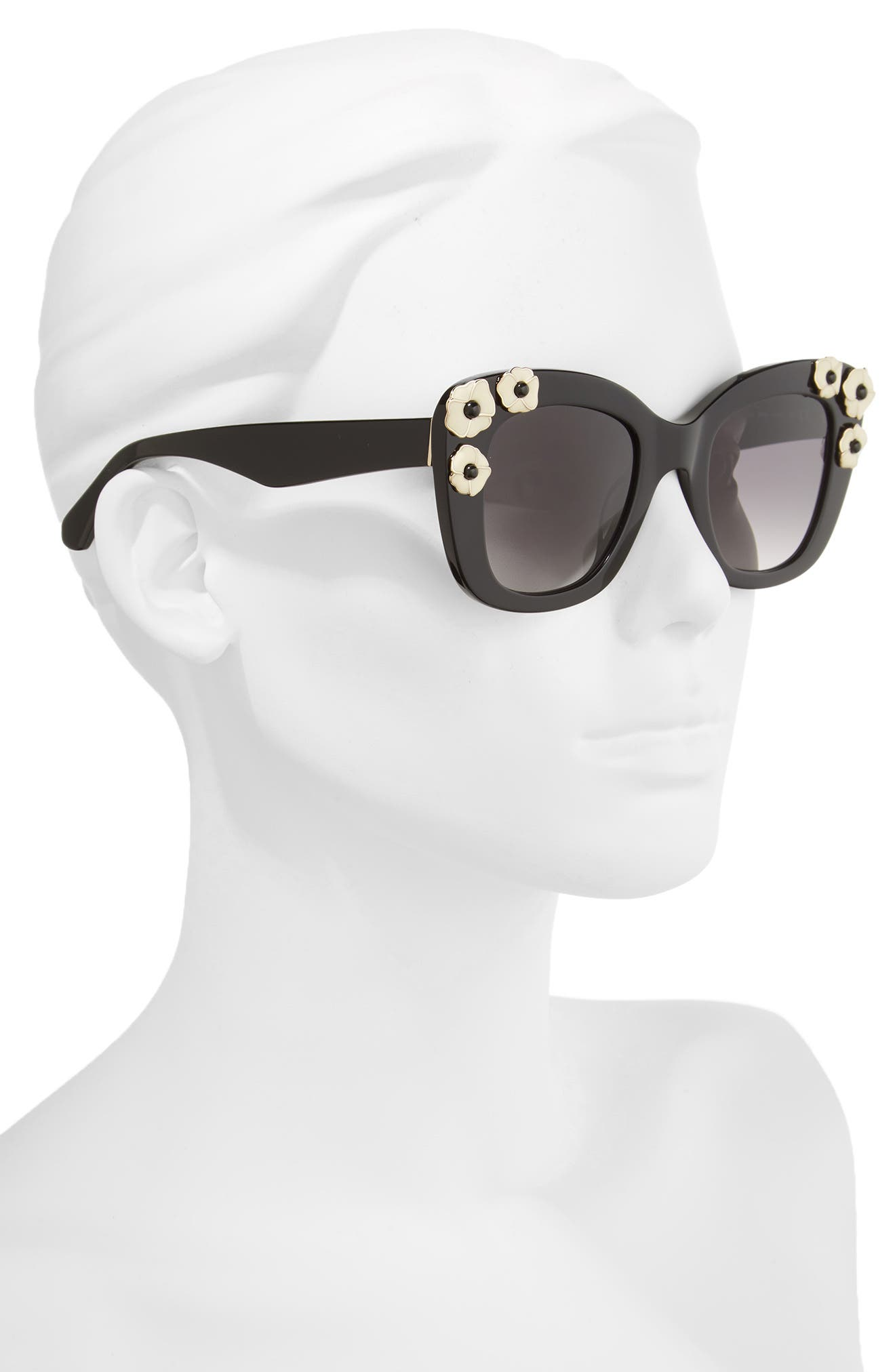 kate spade drystle 49mm floral embellished square sunglasses,                             Alternate thumbnail 2, color,                             001