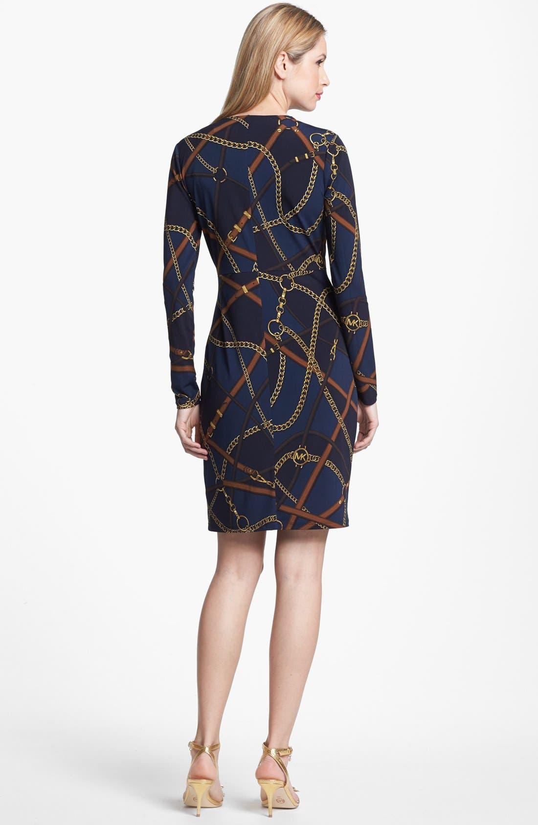 Print Faux Wrap Dress,                             Alternate thumbnail 3, color,                             452