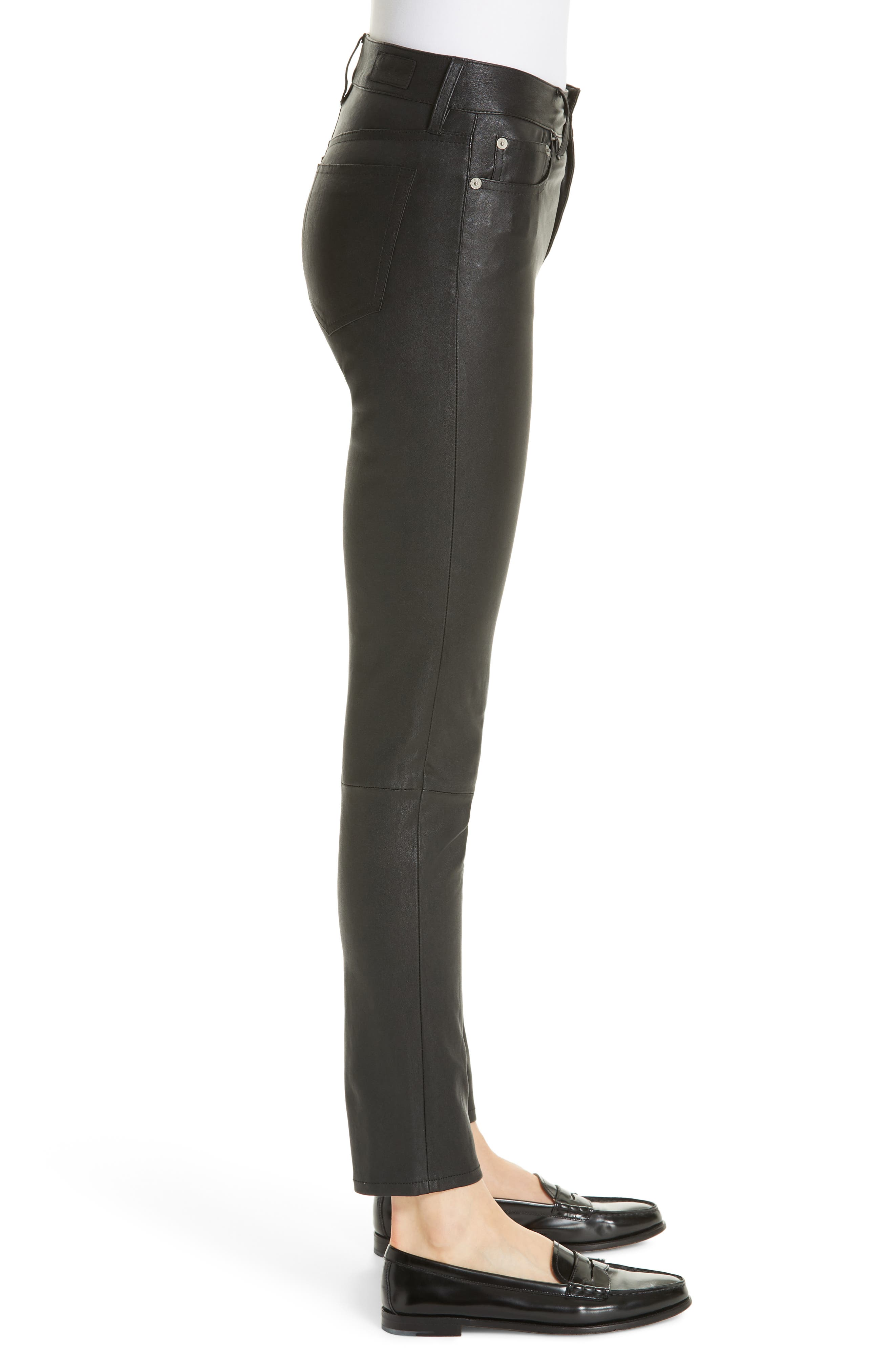 Five Pocket Leather Skinny Pants,                             Alternate thumbnail 3, color,                             POLO BLACK