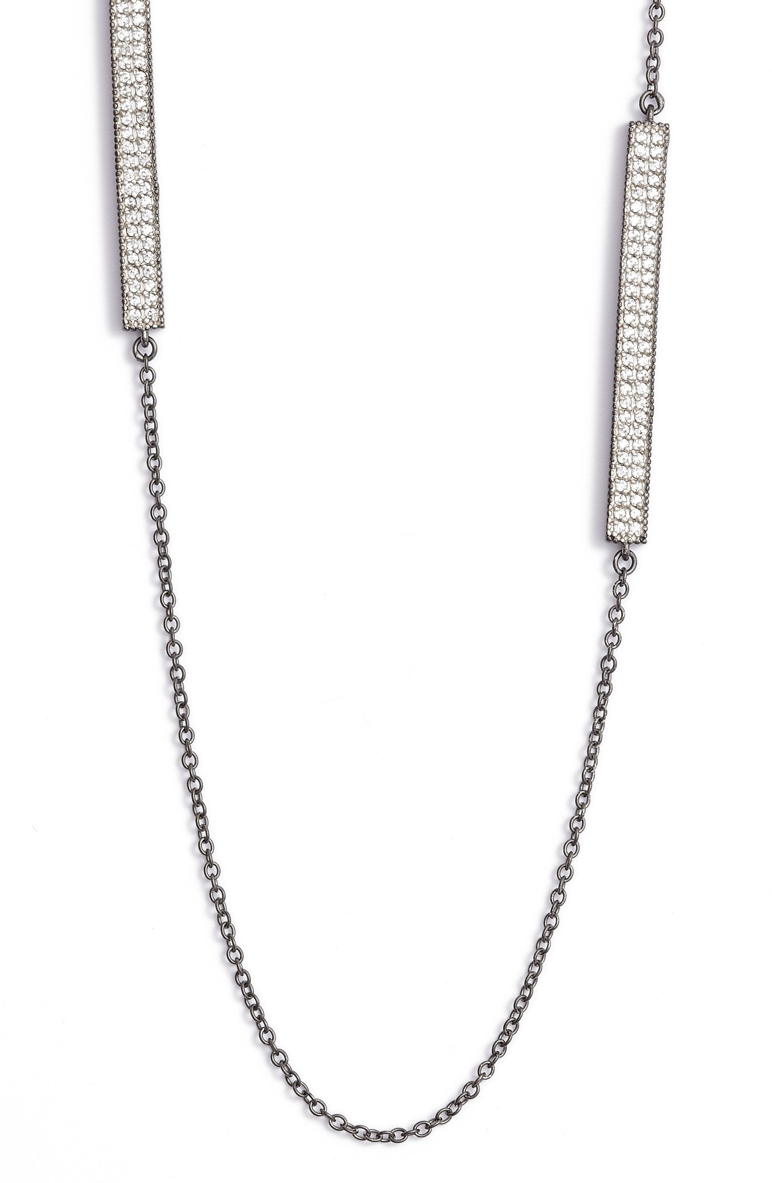 Contemporary Deco Station Necklace,                             Alternate thumbnail 3, color,                             SILVER/ GUNMETAL