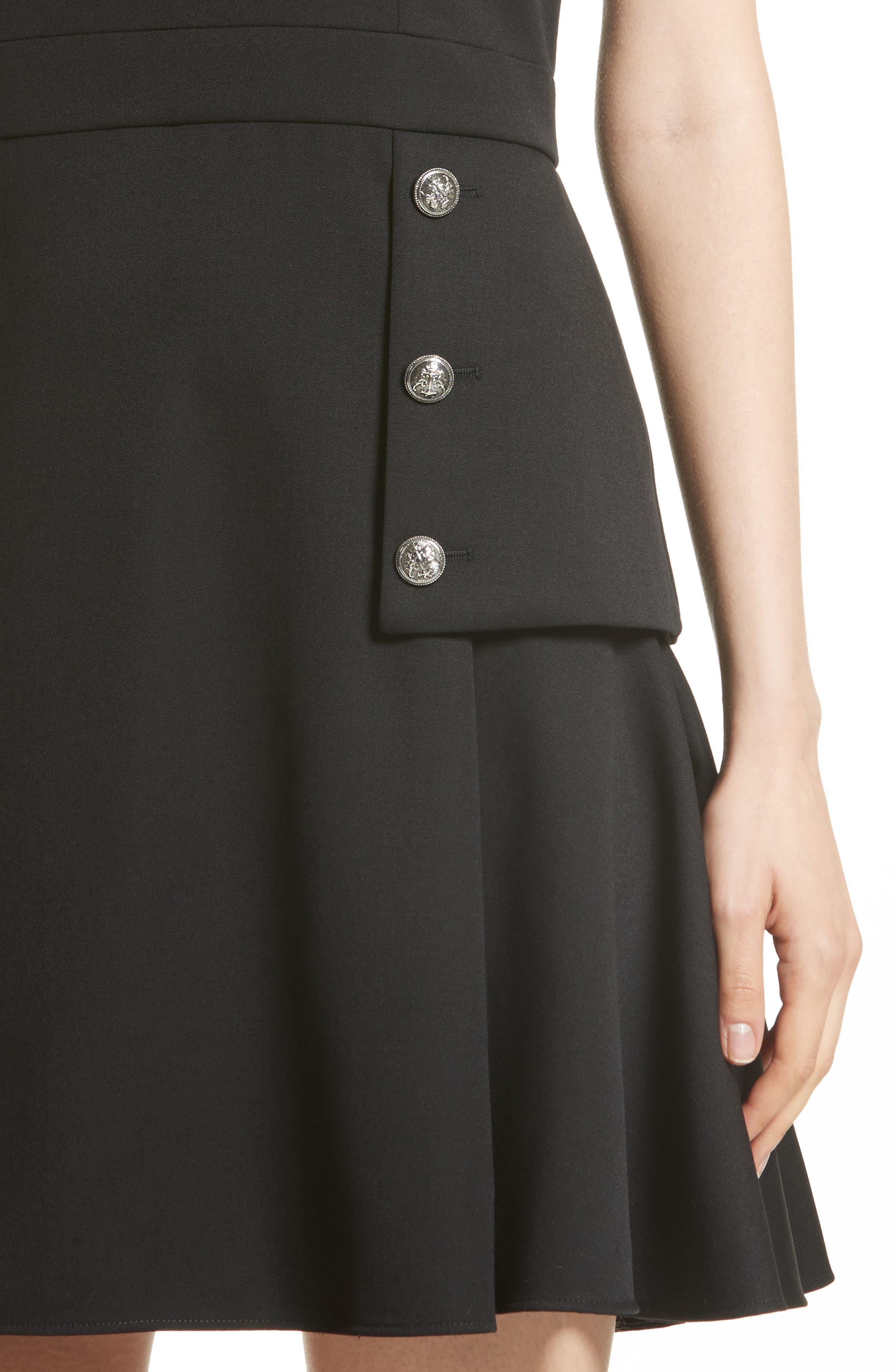Military Peplum Dress,                             Alternate thumbnail 4, color,                             001