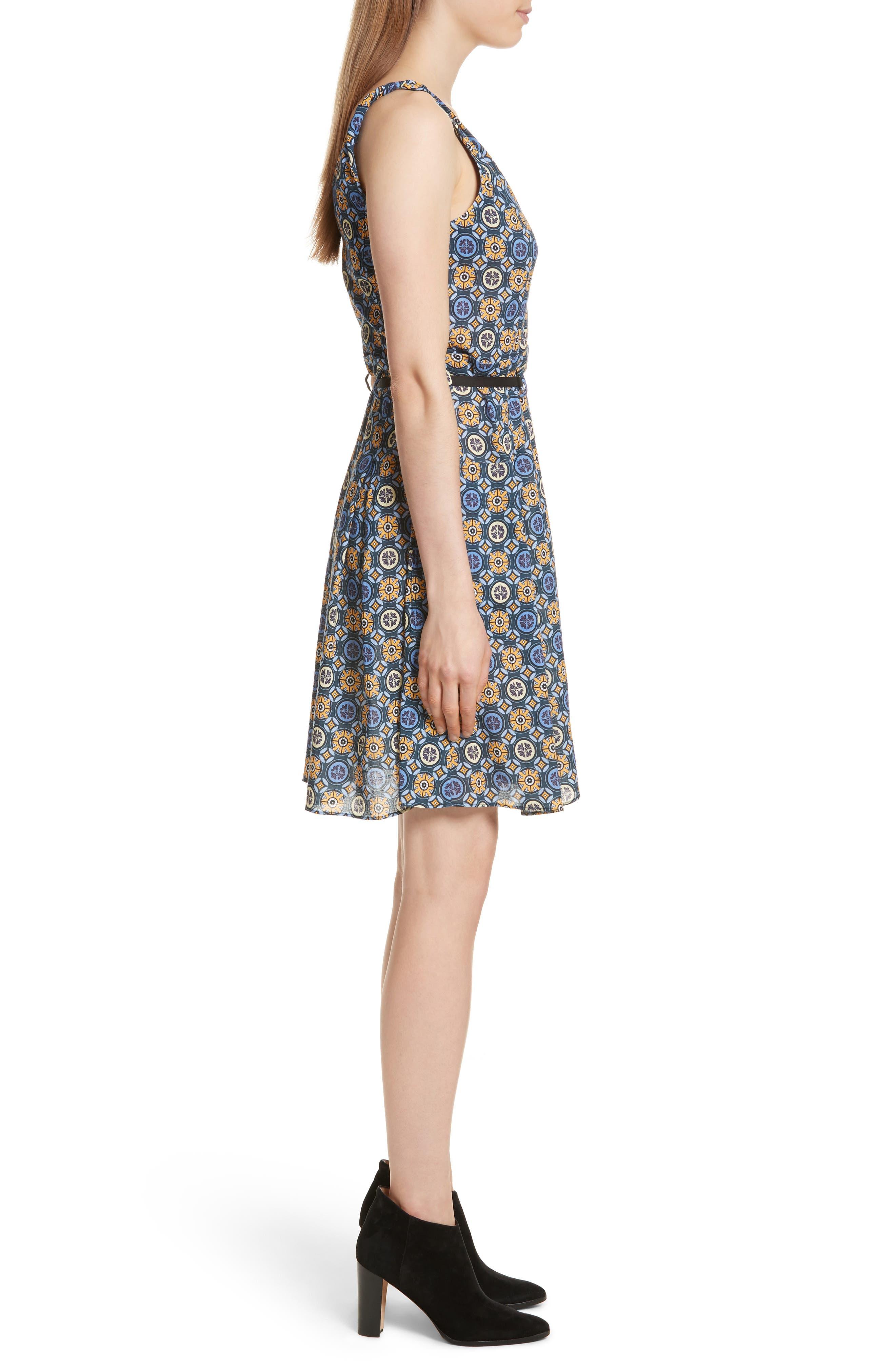 Tile Pattern Cotton Dress,                             Alternate thumbnail 3, color,                             452