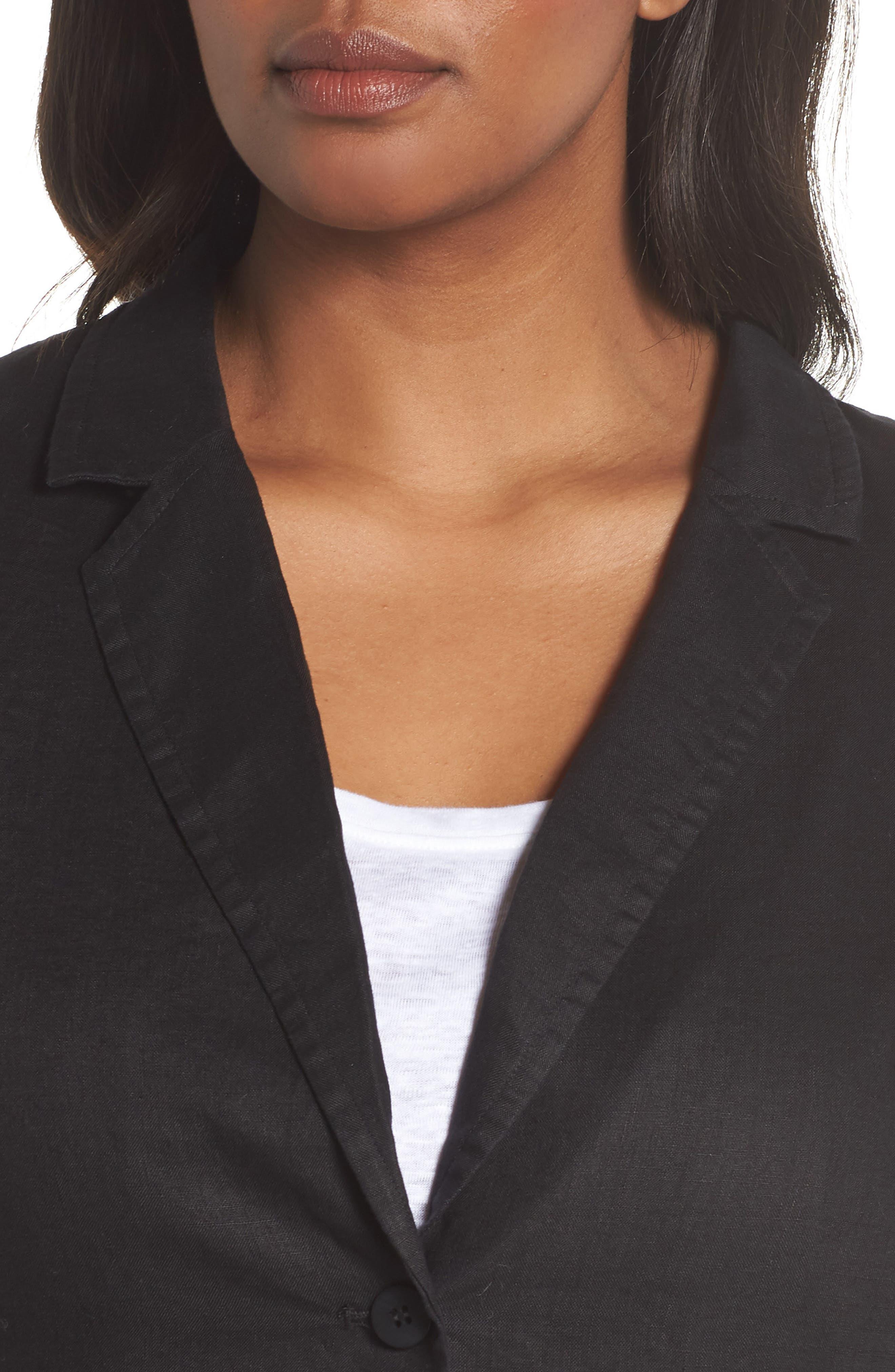 Organic Linen Blazer,                             Alternate thumbnail 4, color,                             001