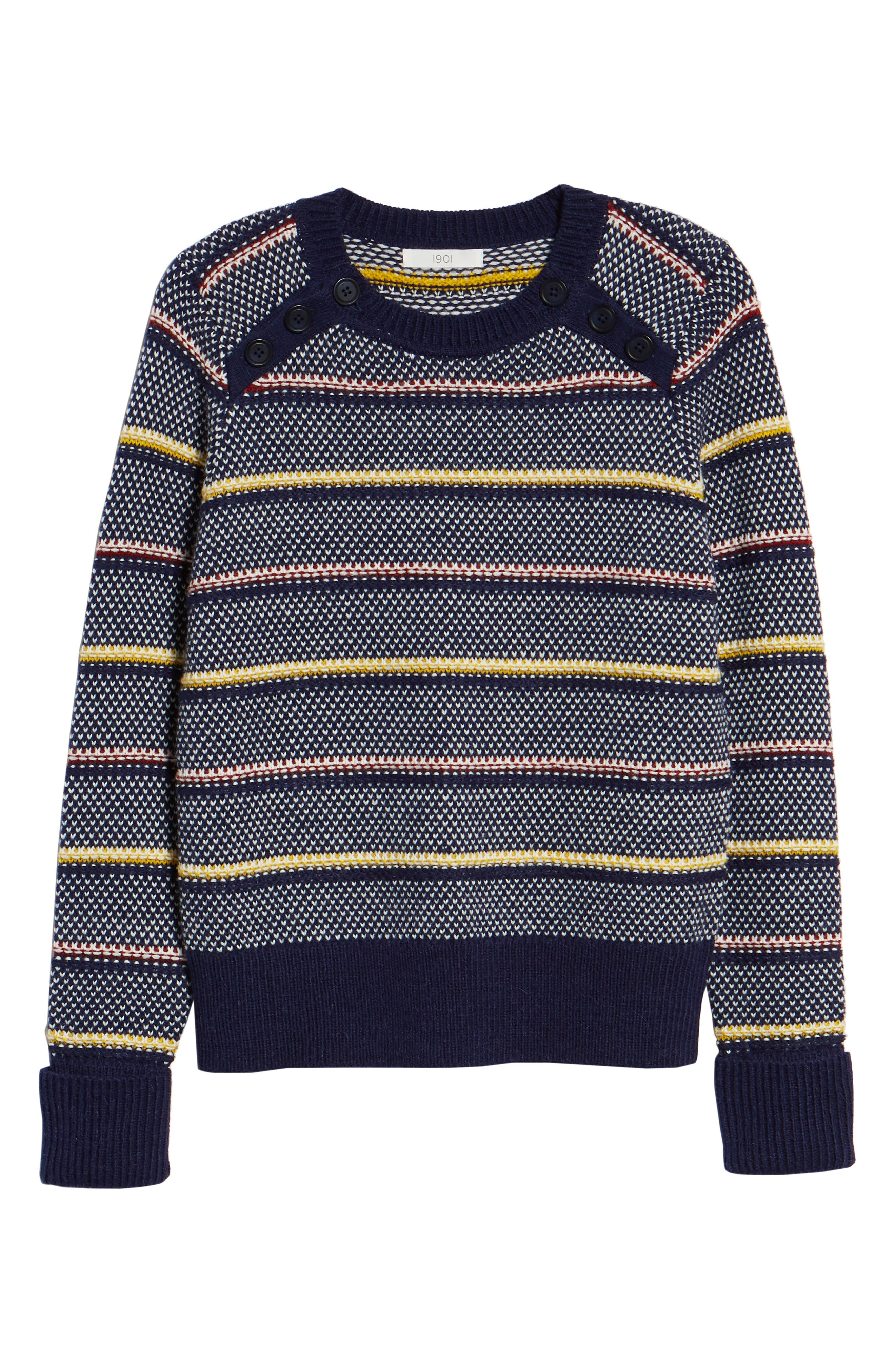 Button Detail Stripe Wool Blend Texture Sweater,                             Alternate thumbnail 6, color,                             NAVY BERET PATTERN