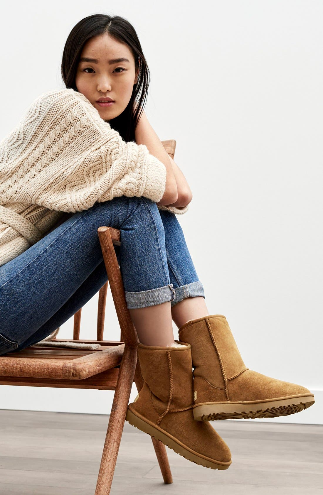 'Classic II' Genuine Shearling Lined Short Boot,                             Alternate thumbnail 7, color,                             CHESTNUT SUEDE