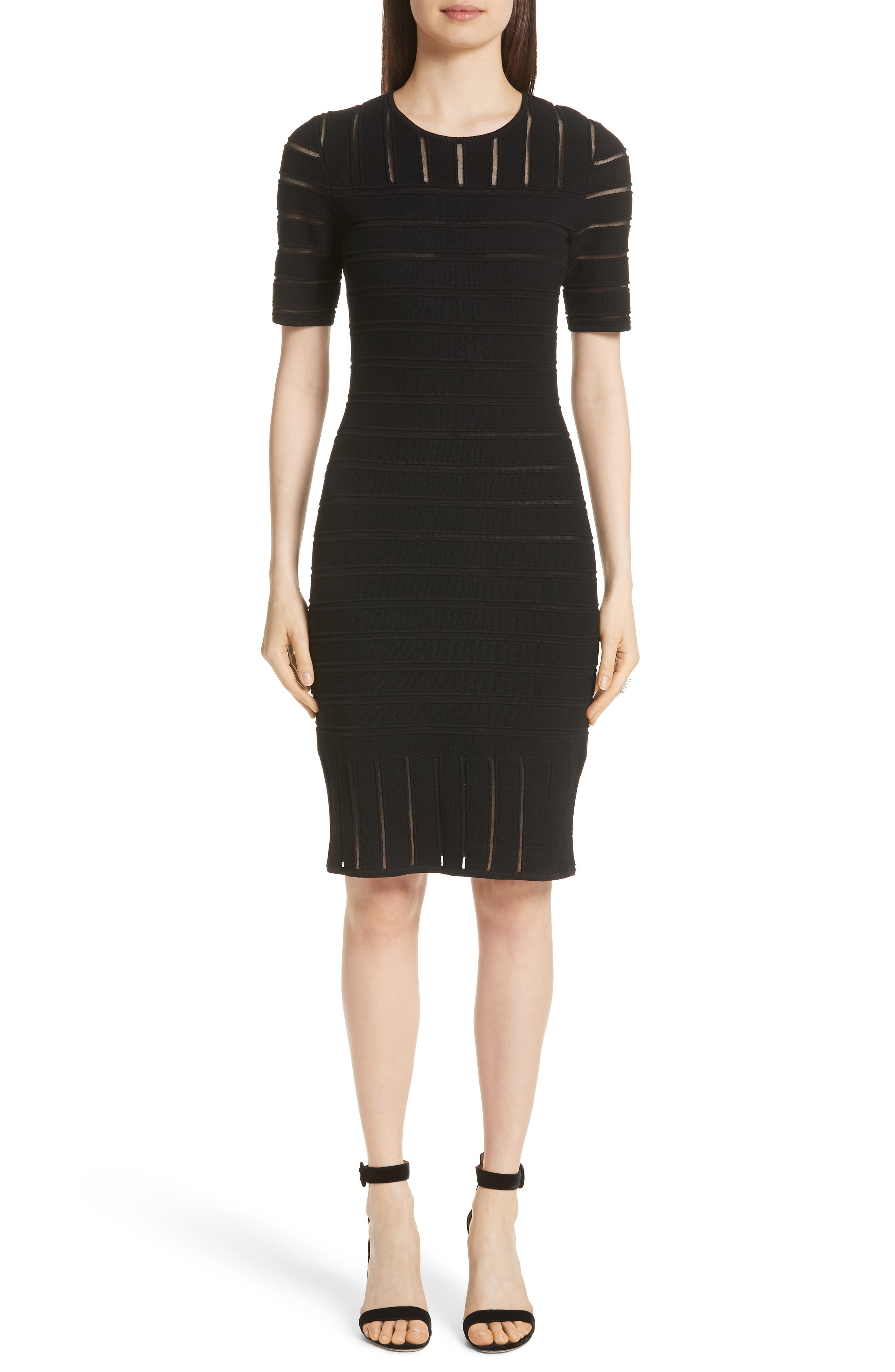 St. John Collection Ottoman Illusion Sweater Dress, Black