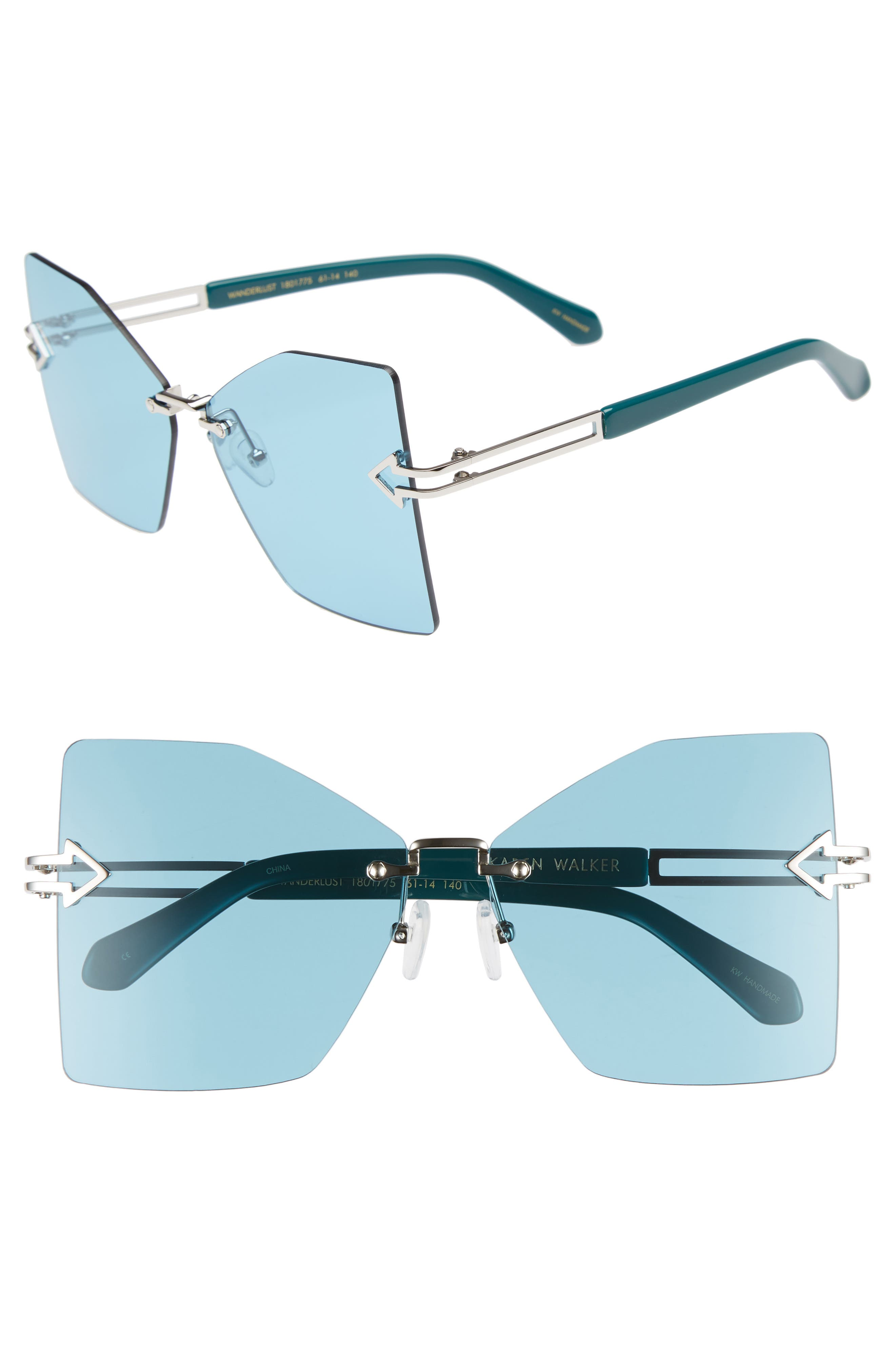 Wanderlust 61mm Butterfly Sunglasses,                         Main,                         color, SHINY SILVER/ EMERALD
