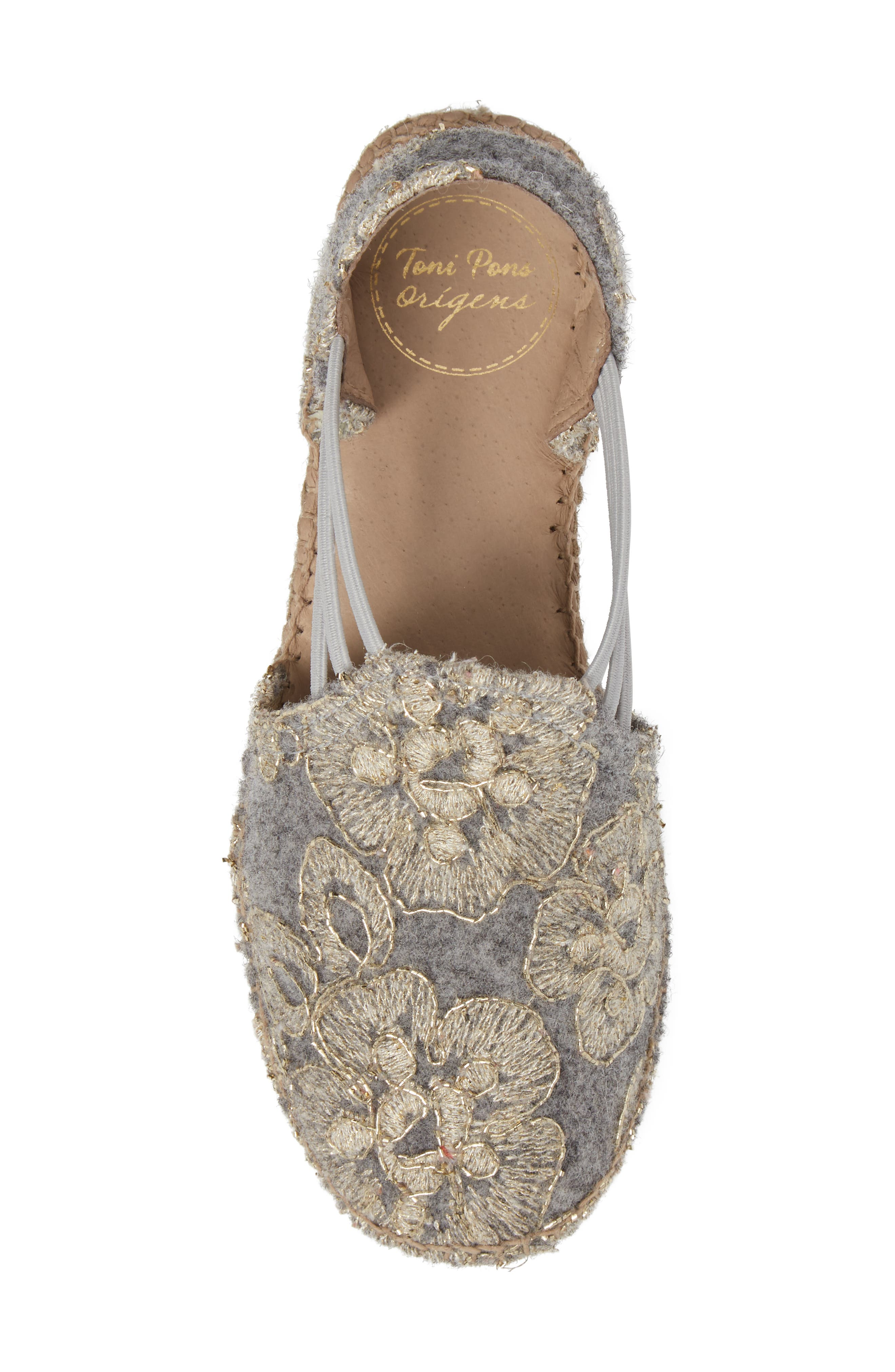 Metz Embroidered Espadrille Wedge,                             Alternate thumbnail 5, color,                             020