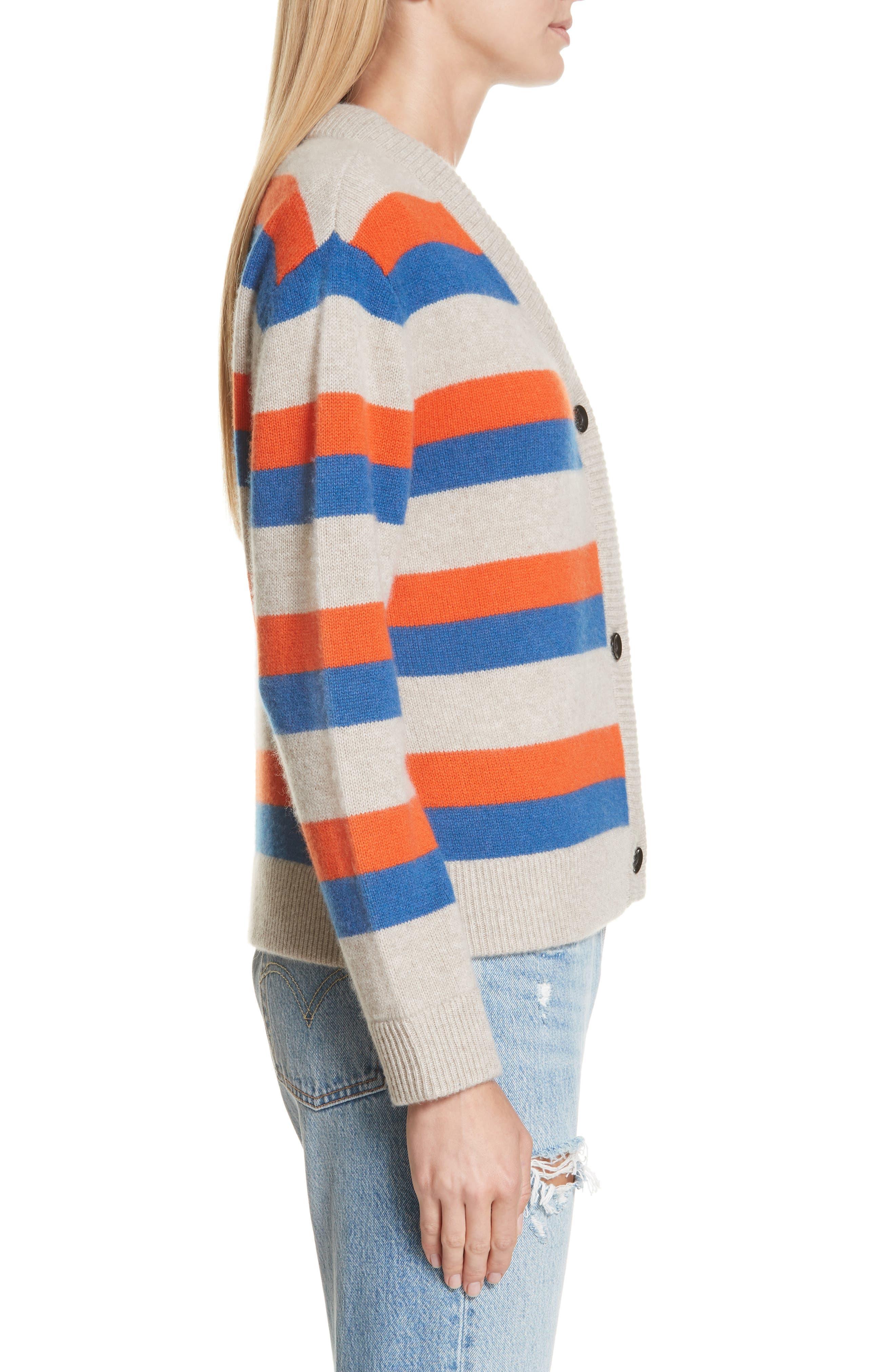 The Remus Stripe Cashmere Cardigan,                             Alternate thumbnail 3, color,                             SAND