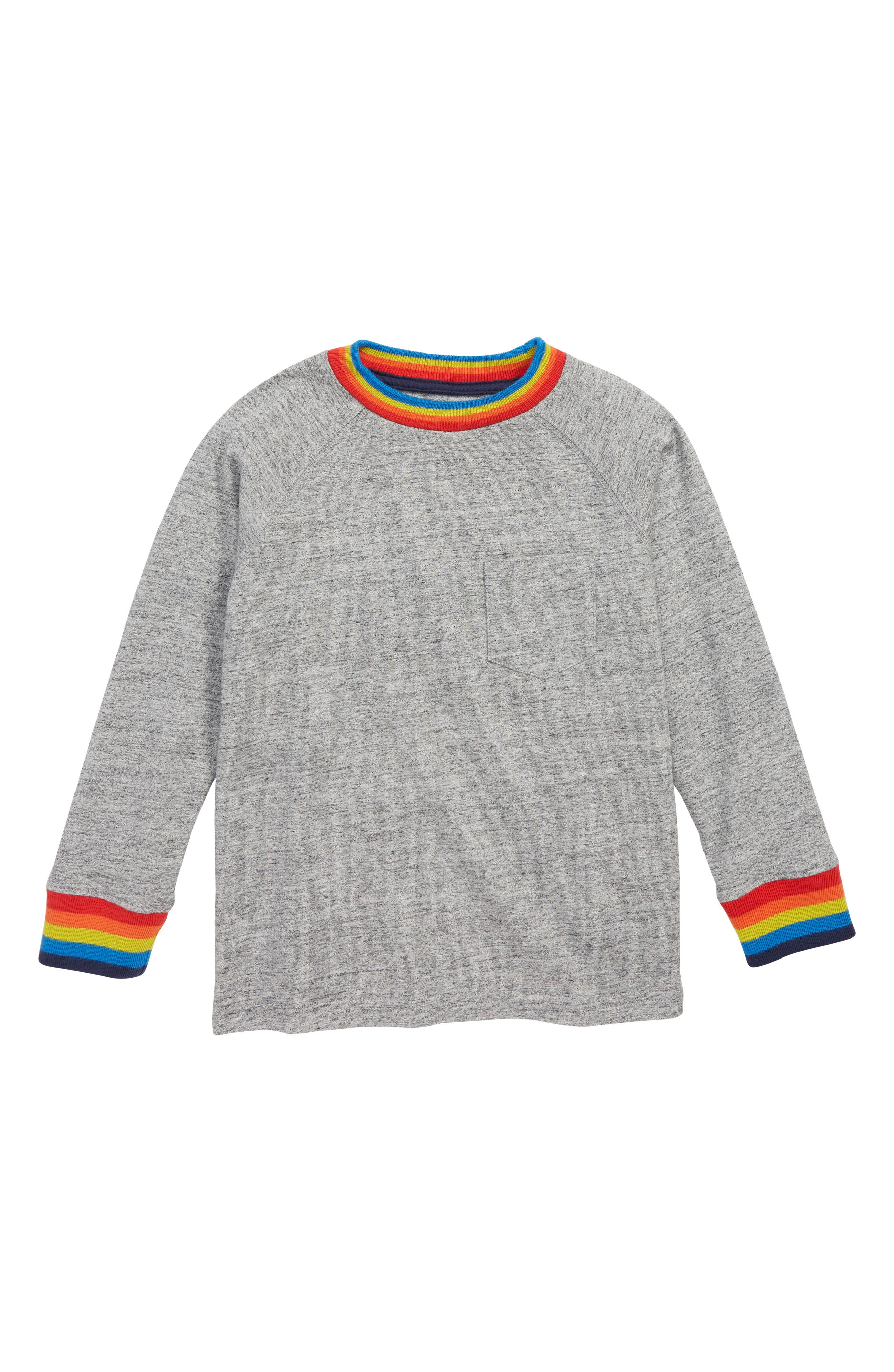Boys Mini Boden Stripe Raglan Sweatshirt Size 67Y  Grey