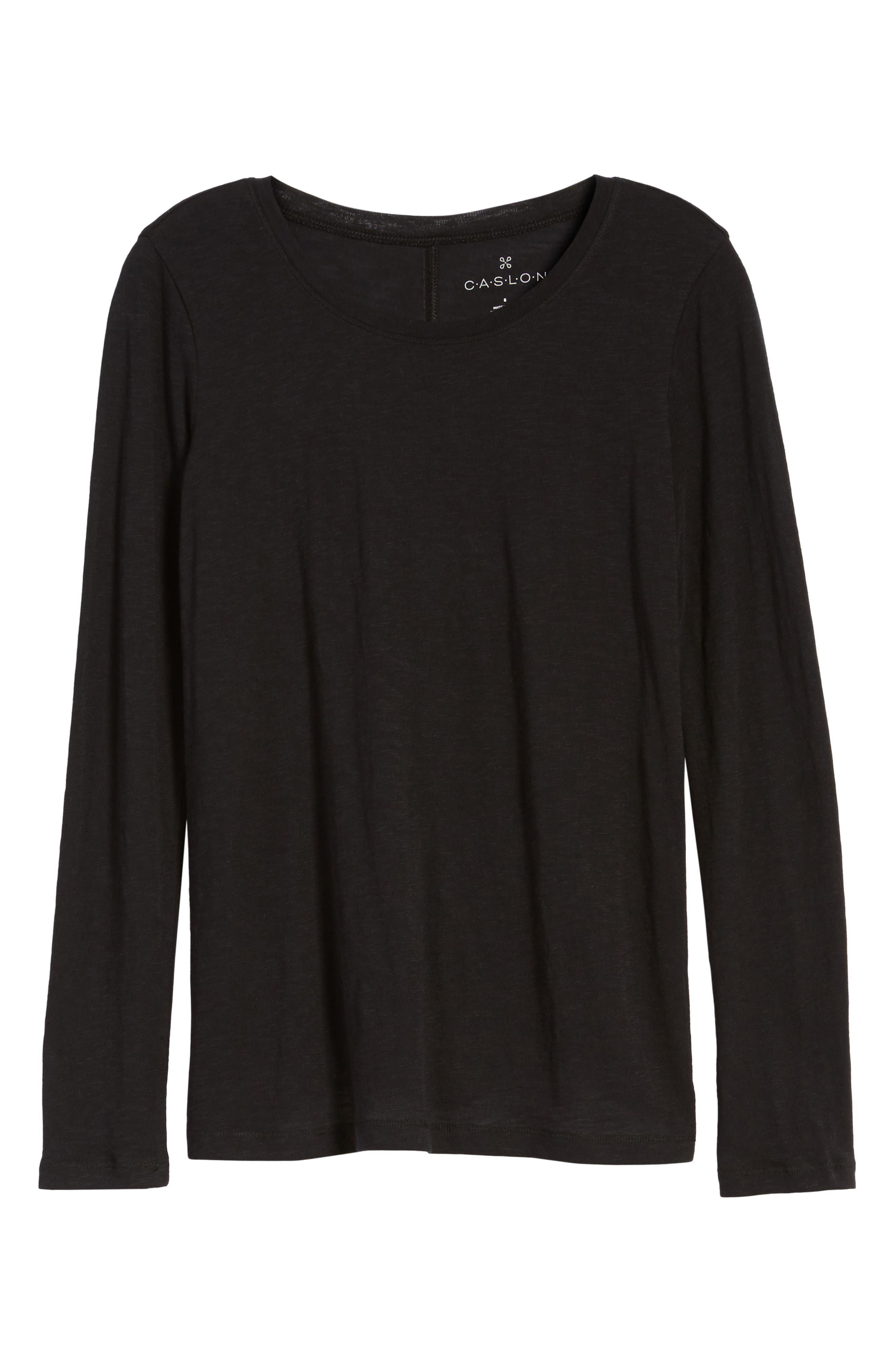 CASLON<SUP>®</SUP>,                             Long Sleeve Crewneck Tee,                             Alternate thumbnail 8, color,                             BLACK