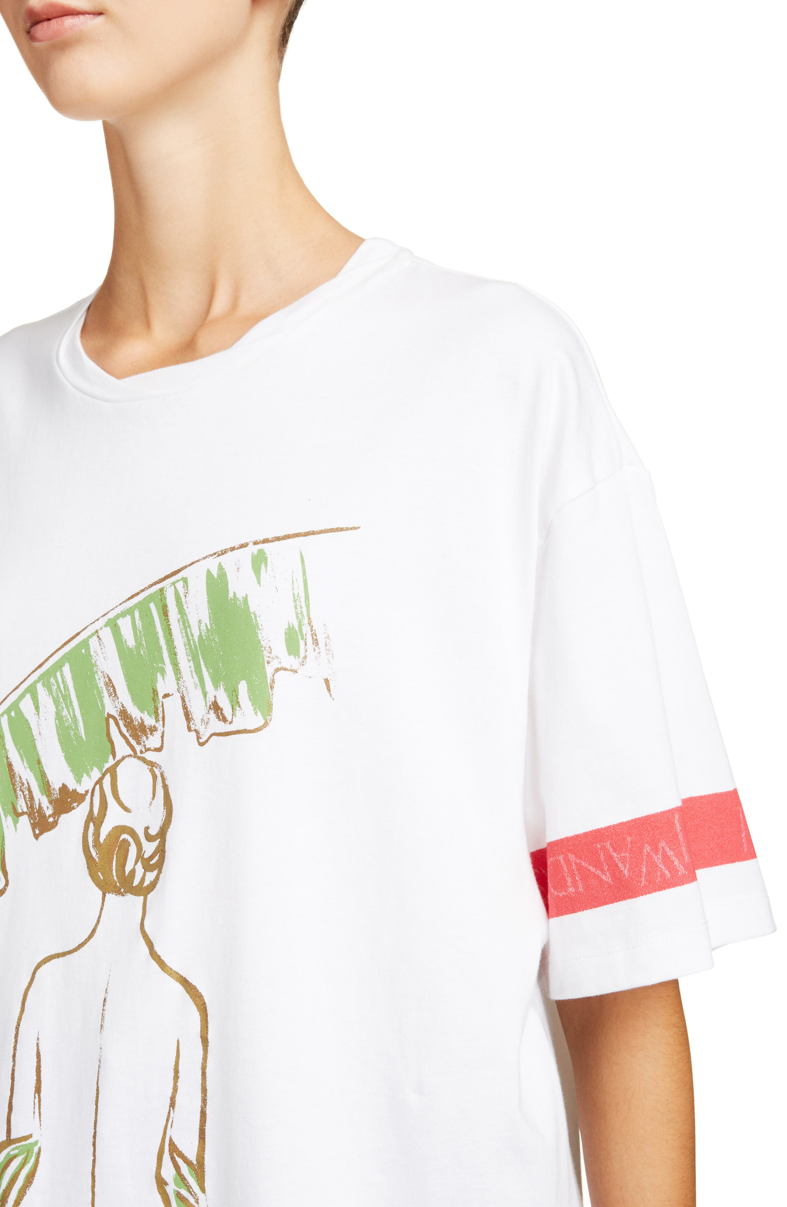 Palm Lady Oversized Tee,                             Alternate thumbnail 4, color,                             100