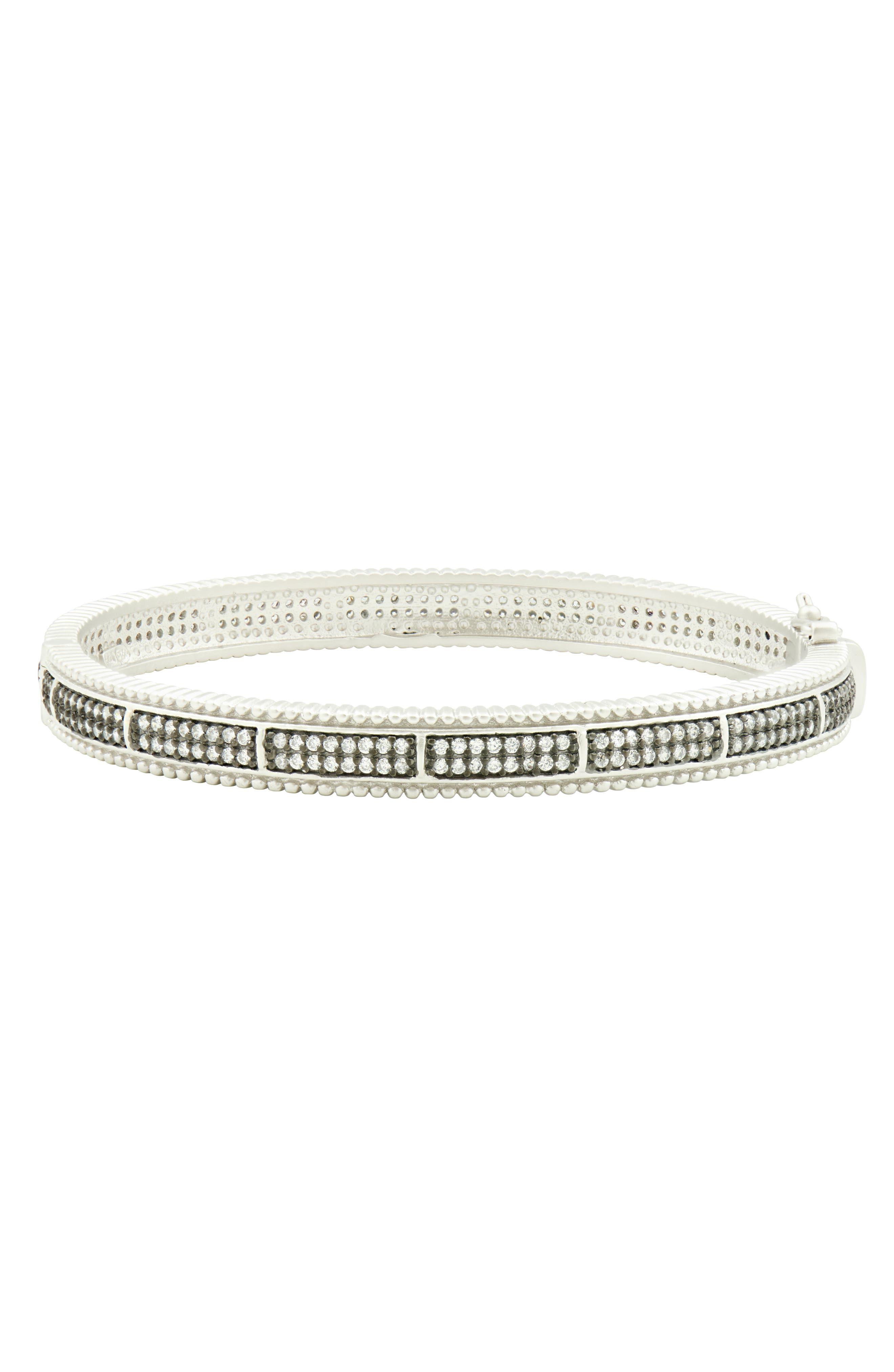 Pavé Hinge Bangle Bracelet,                             Main thumbnail 1, color,                             BLACK/ WHITE/ SILVER