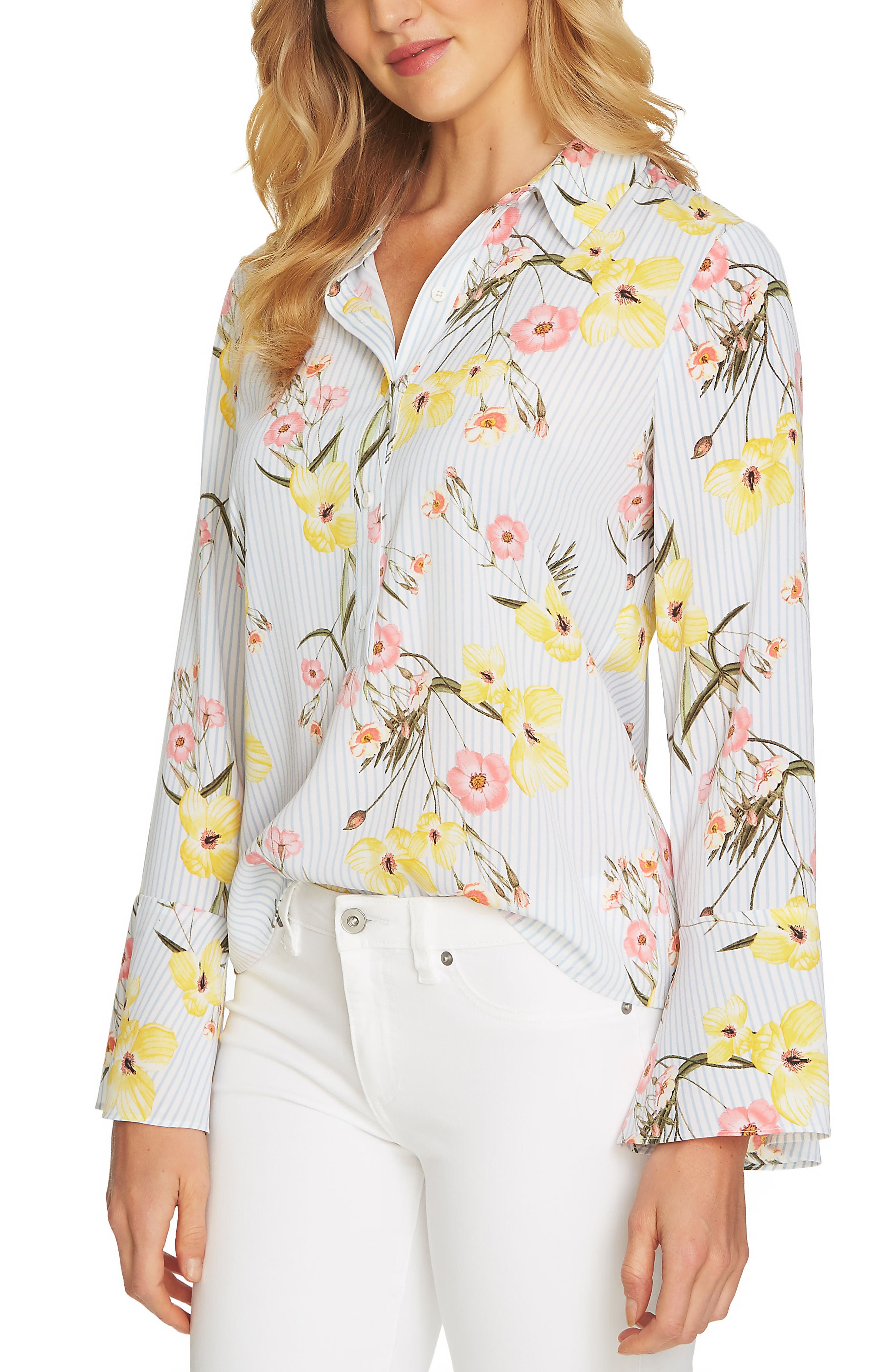 Botanical Blooms Collared Top,                         Main,                         color,