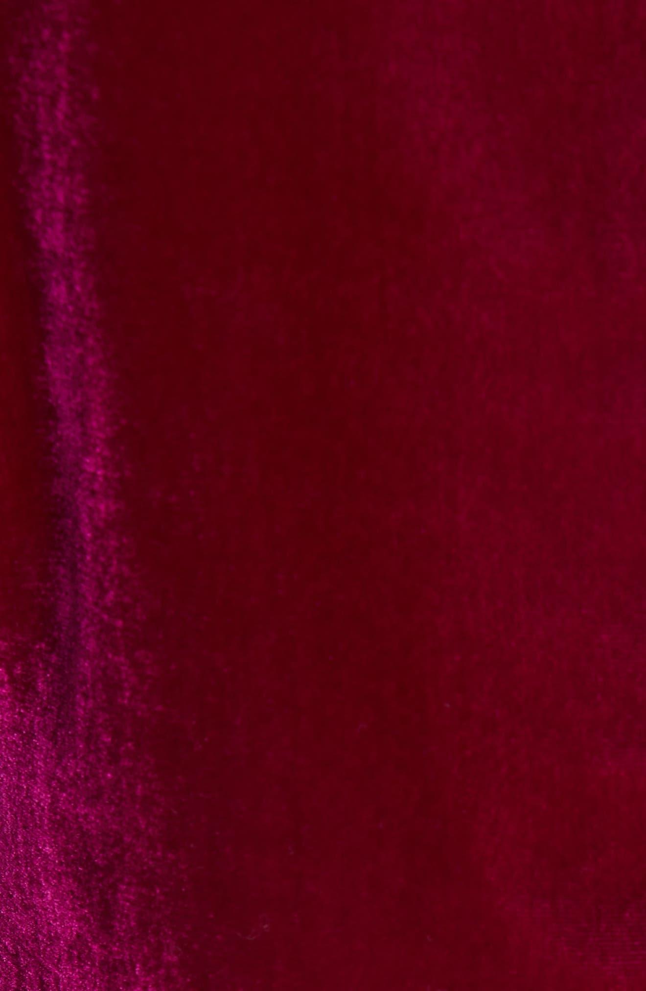 Ruched Sleeve Velvet Top,                             Alternate thumbnail 5, color,                             CRANBERRY