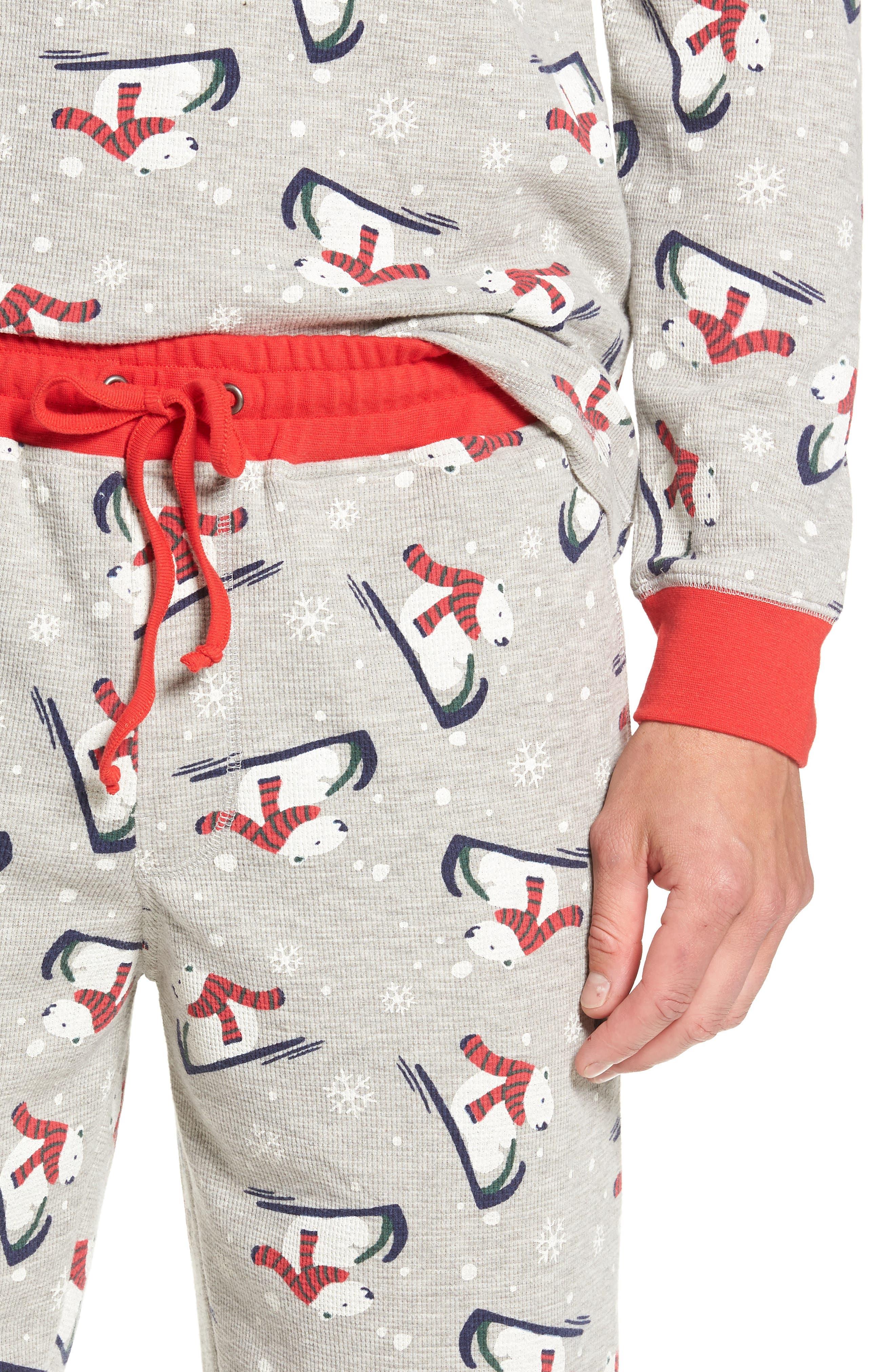 Family Father Thermal Pajamas,                             Alternate thumbnail 4, color,                             GREY PEARL HEATHER POLAR BEAR