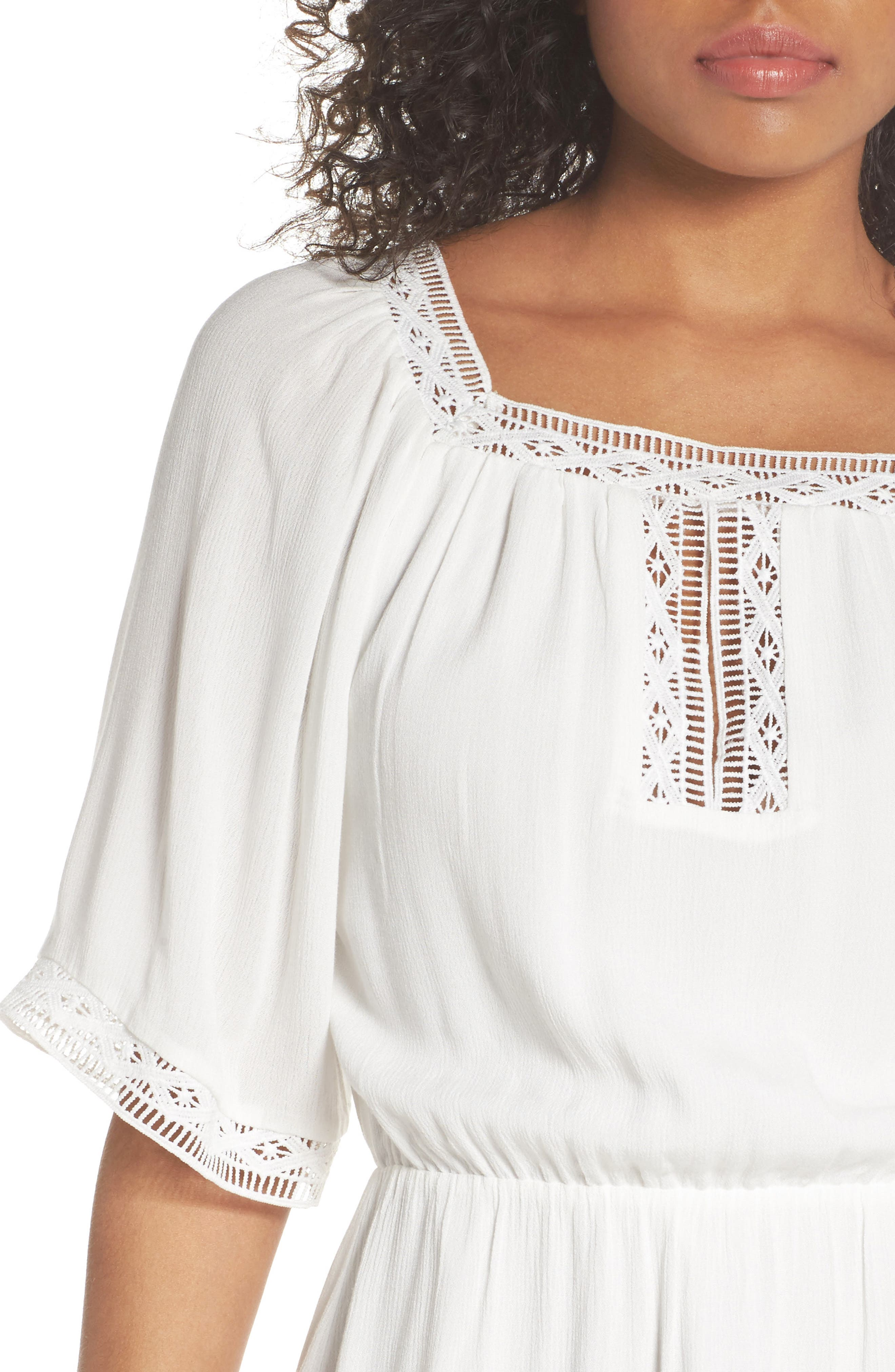Lace Trim Peasant Minidress,                             Alternate thumbnail 4, color,