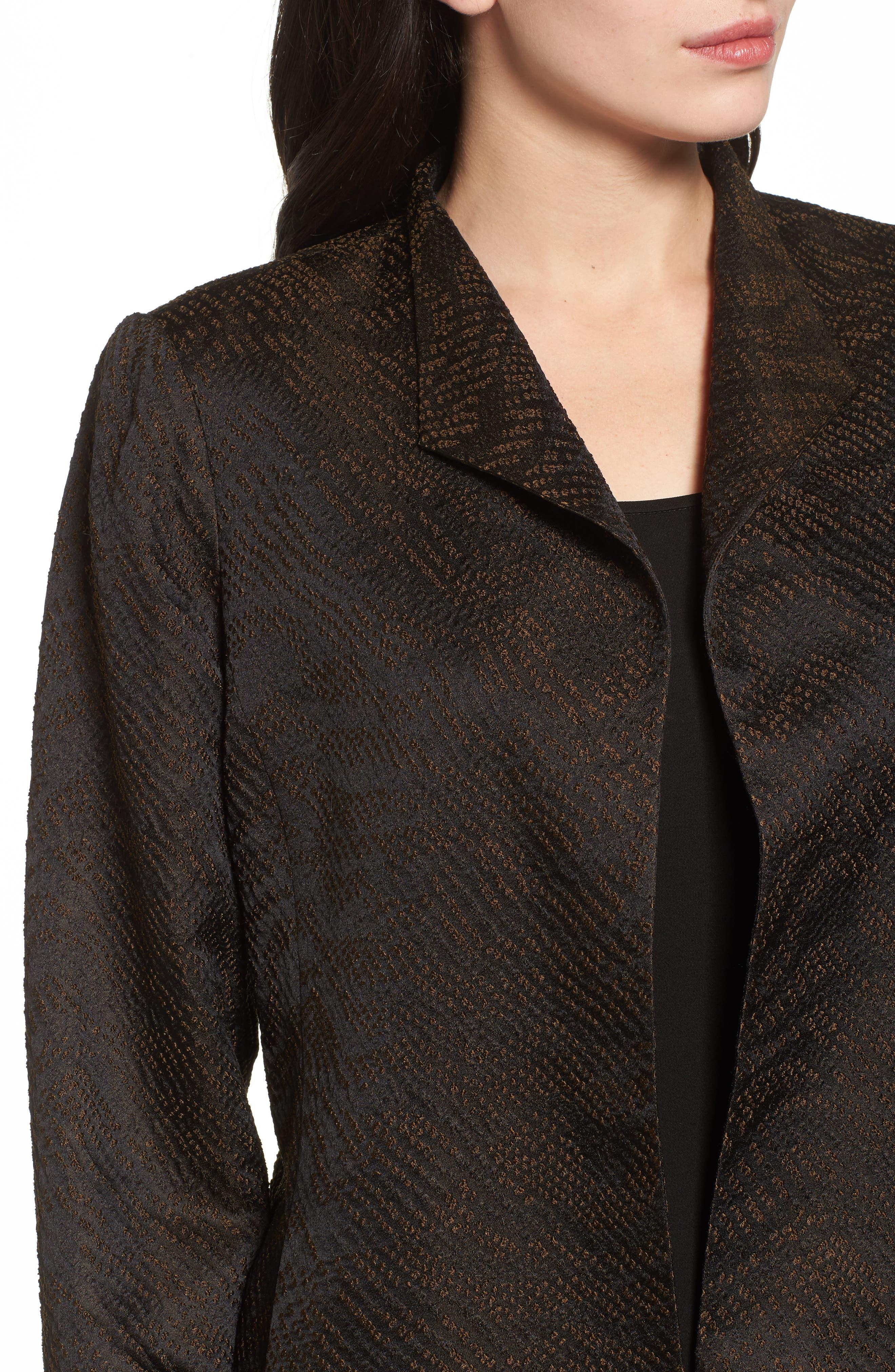 Silk Blend Jacquard Jacket,                             Alternate thumbnail 4, color,                             001