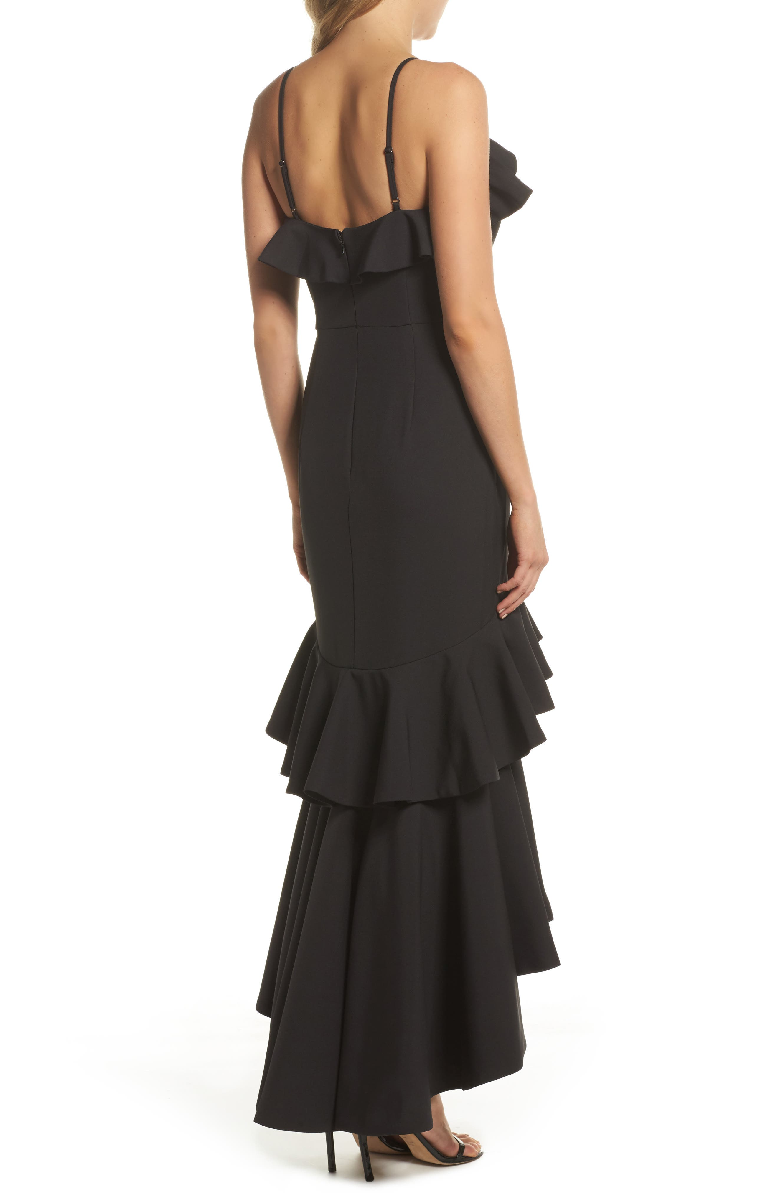 Mina Ruffle Gown,                             Alternate thumbnail 2, color,                             001