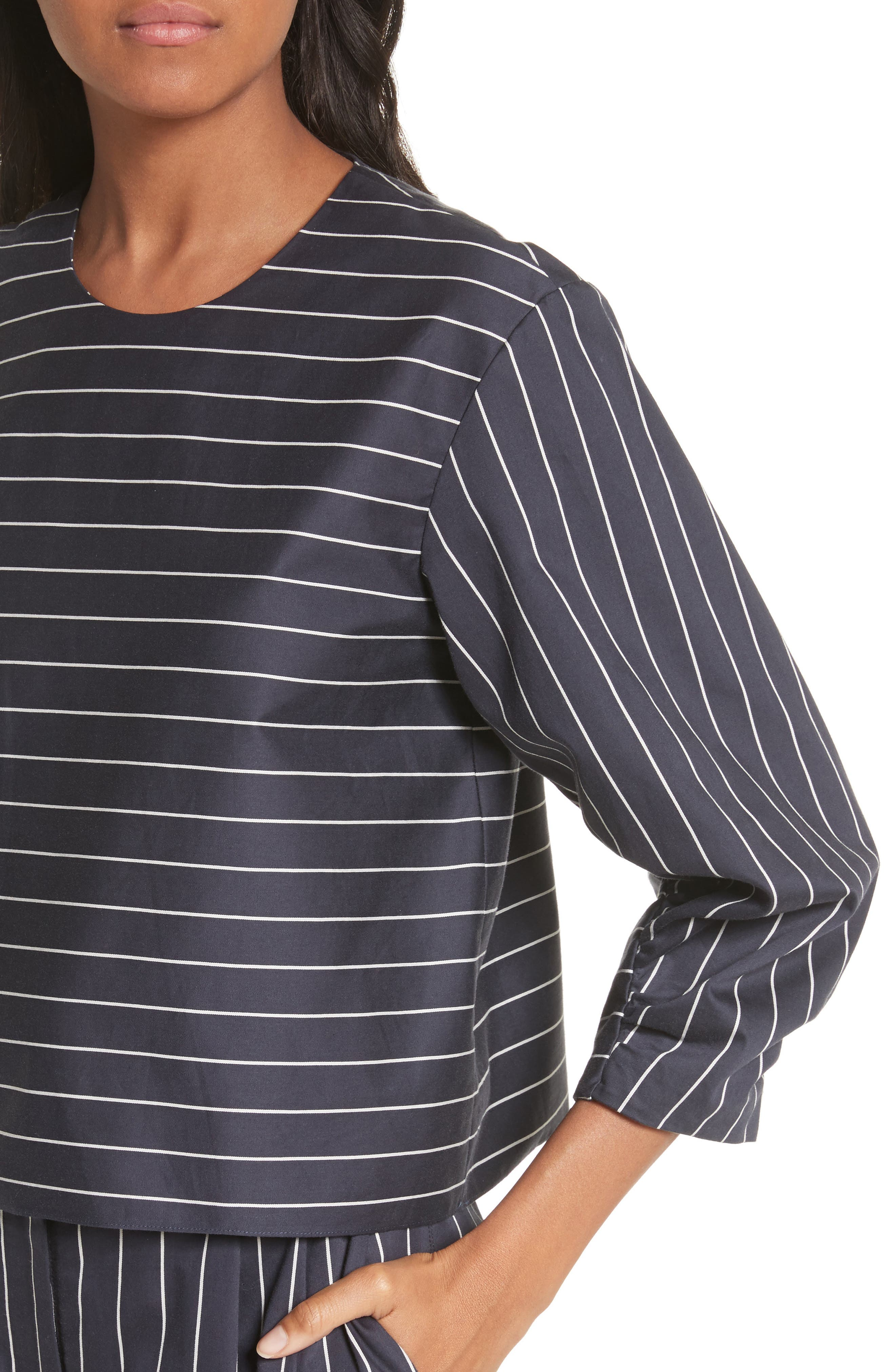 Shirred Sleeve Crop Top,                             Alternate thumbnail 4, color,                             402